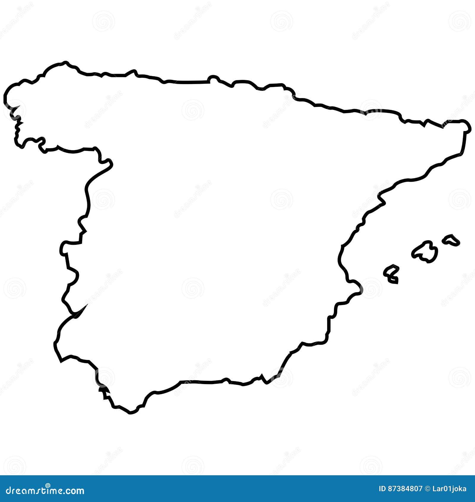 Carte Espagne Noir Et Blanc.Carte Espagnole D Isolement Illustration De Vecteur