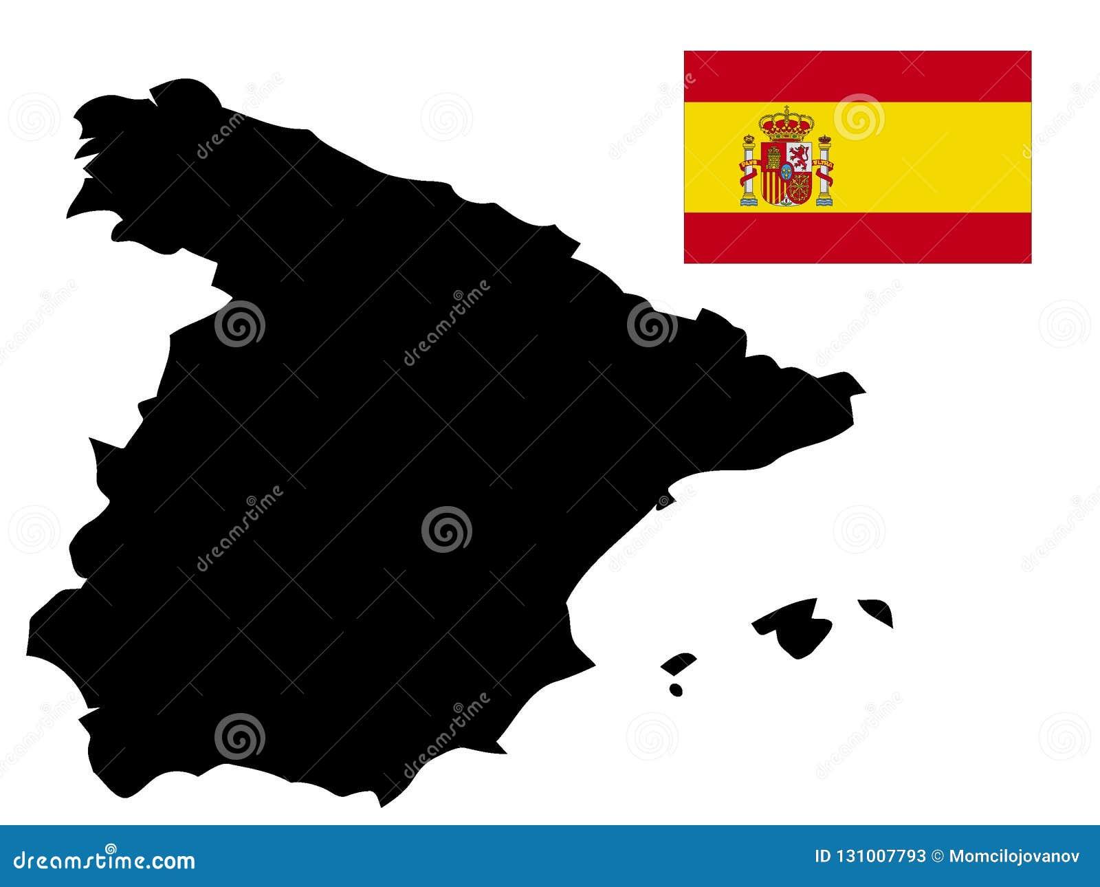 Carte Espagne Noir.Carte Et Drapeau Noirs De L Espagne Illustration De Vecteur