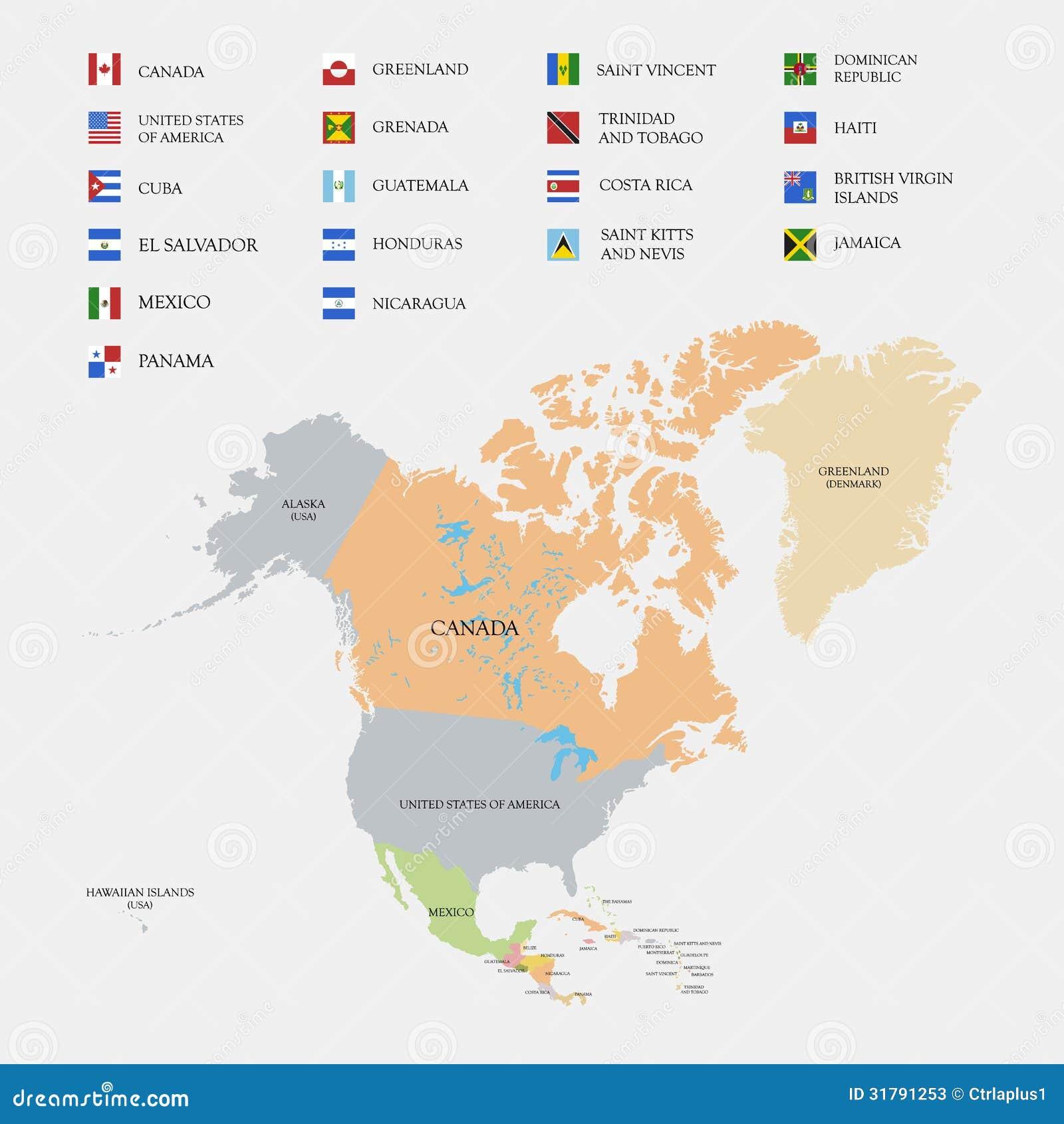 Carte Cuba Amerique.Carte Et Drapeaux De L Amerique Du Nord Illustration De Vecteur