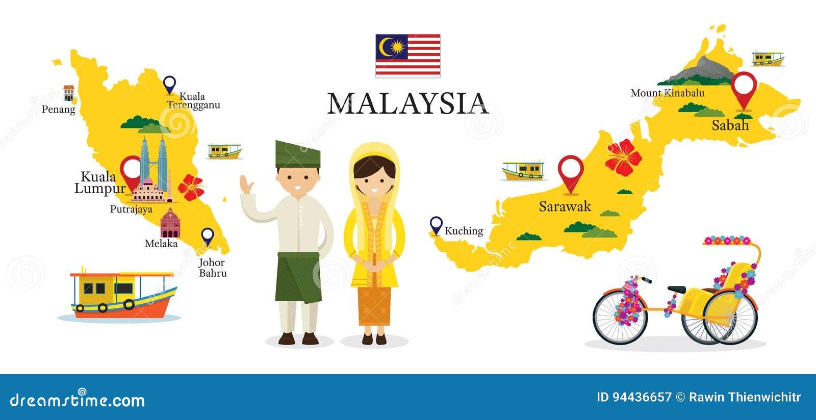 Carte et points de repère de la Malaisie avec des personnes dans l habillement traditionnel