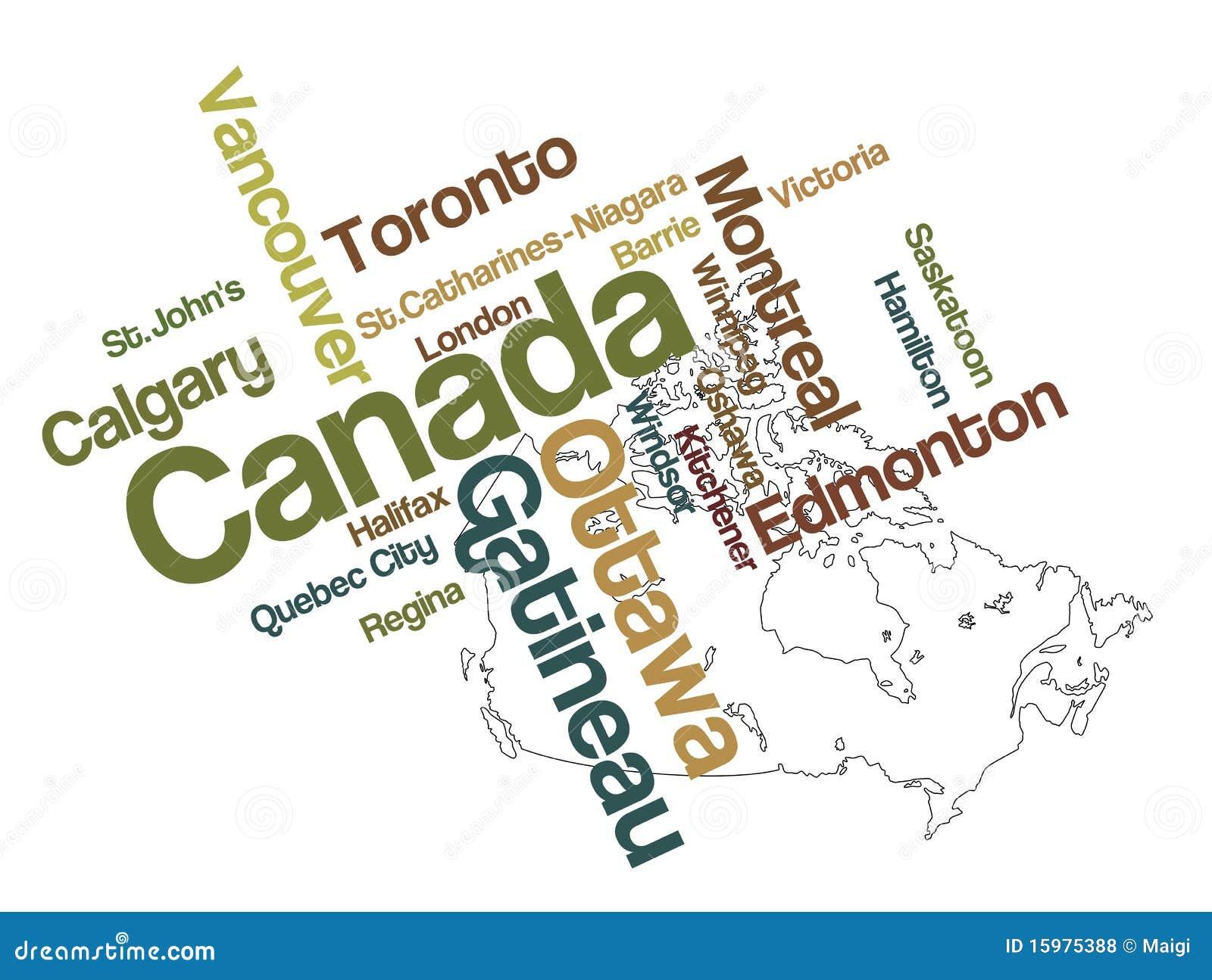 Carte et villes du Canada