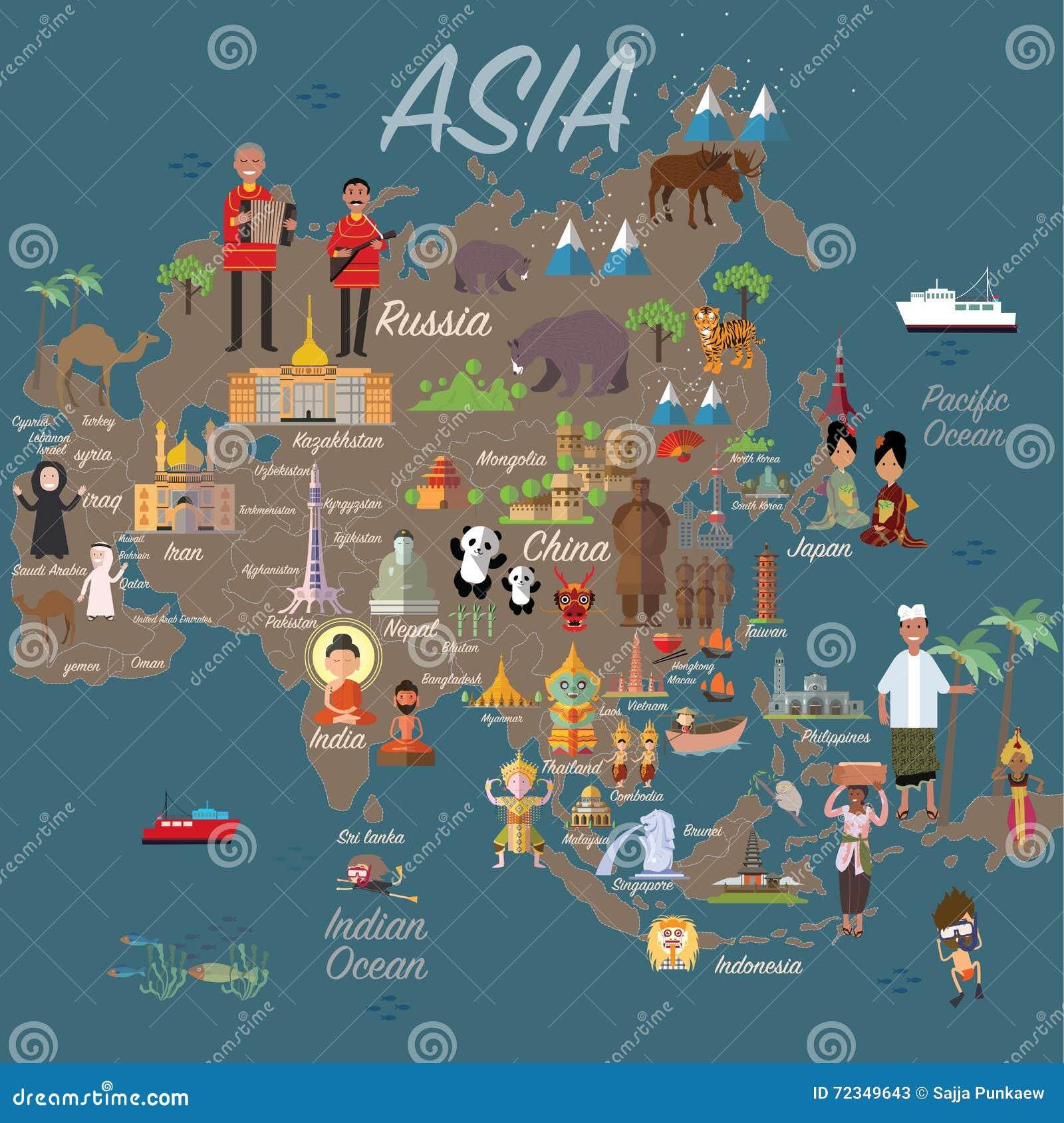 Carte et voyage de l Asie