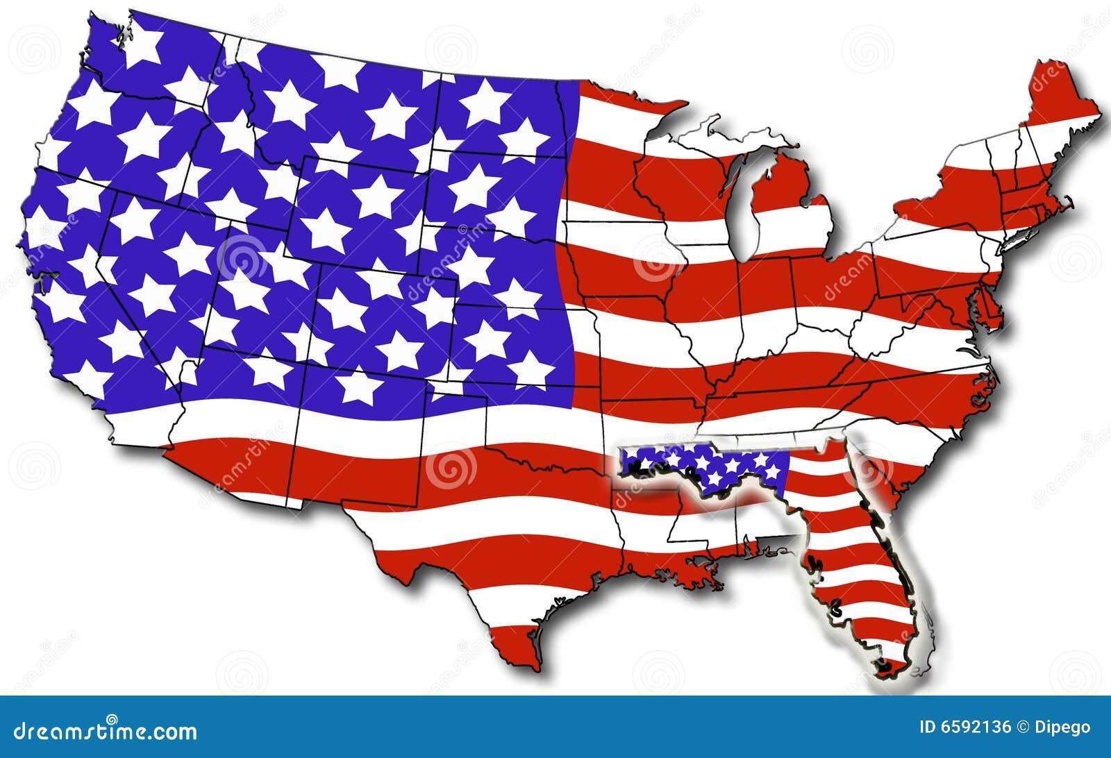Carte Etats-Unis de la Floride