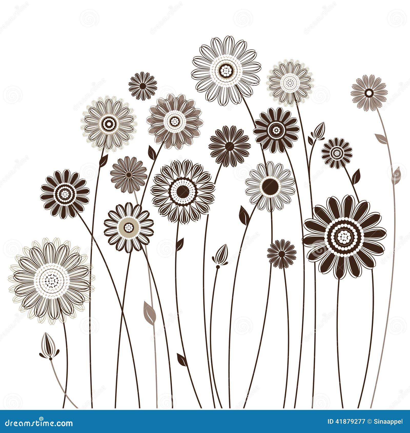 Fleurs Stylisées carte florale, bouquet des fleurs stylisées illustration de vecteur