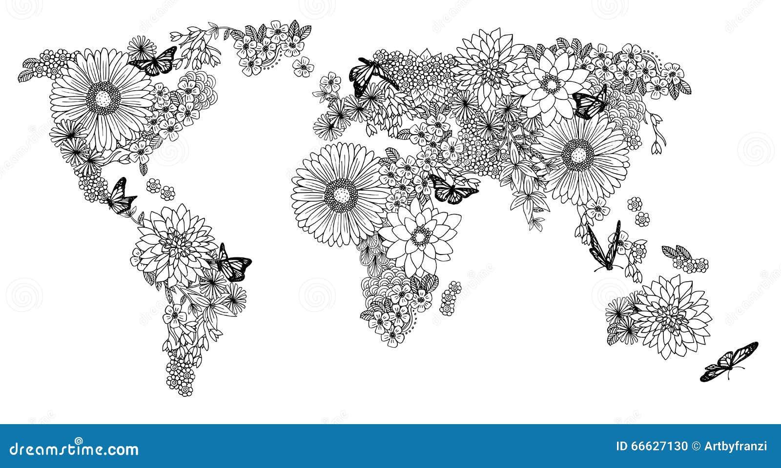 carte florale du monde pour livres de coloriage
