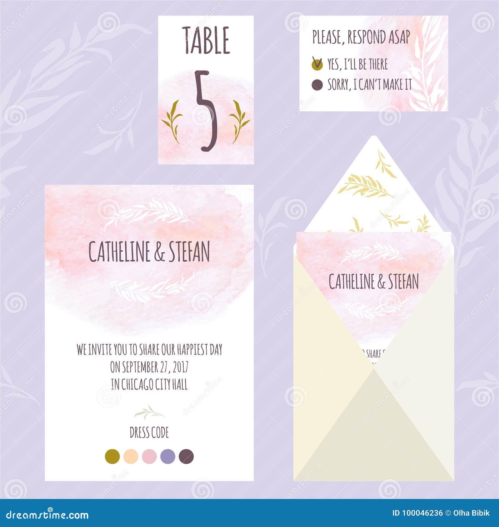 Carte florale template4 d invitation de mariage d aquarelle