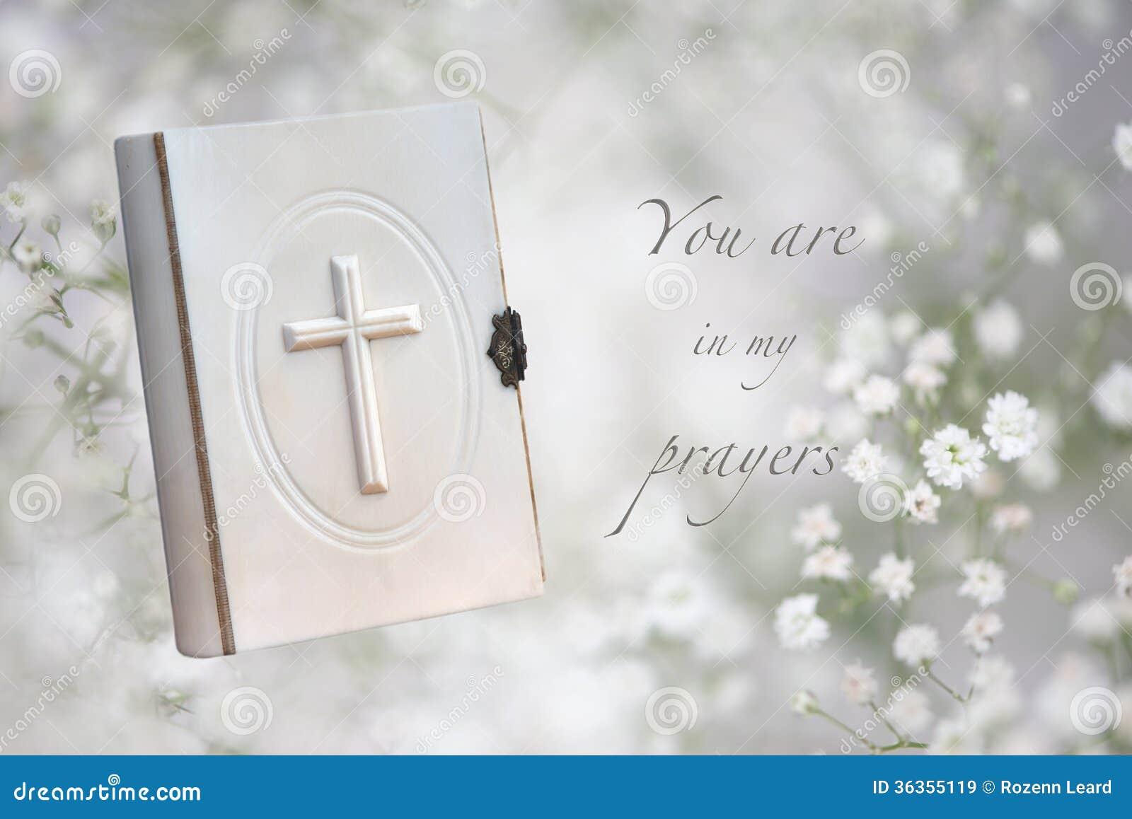 Carte funèbre de prières