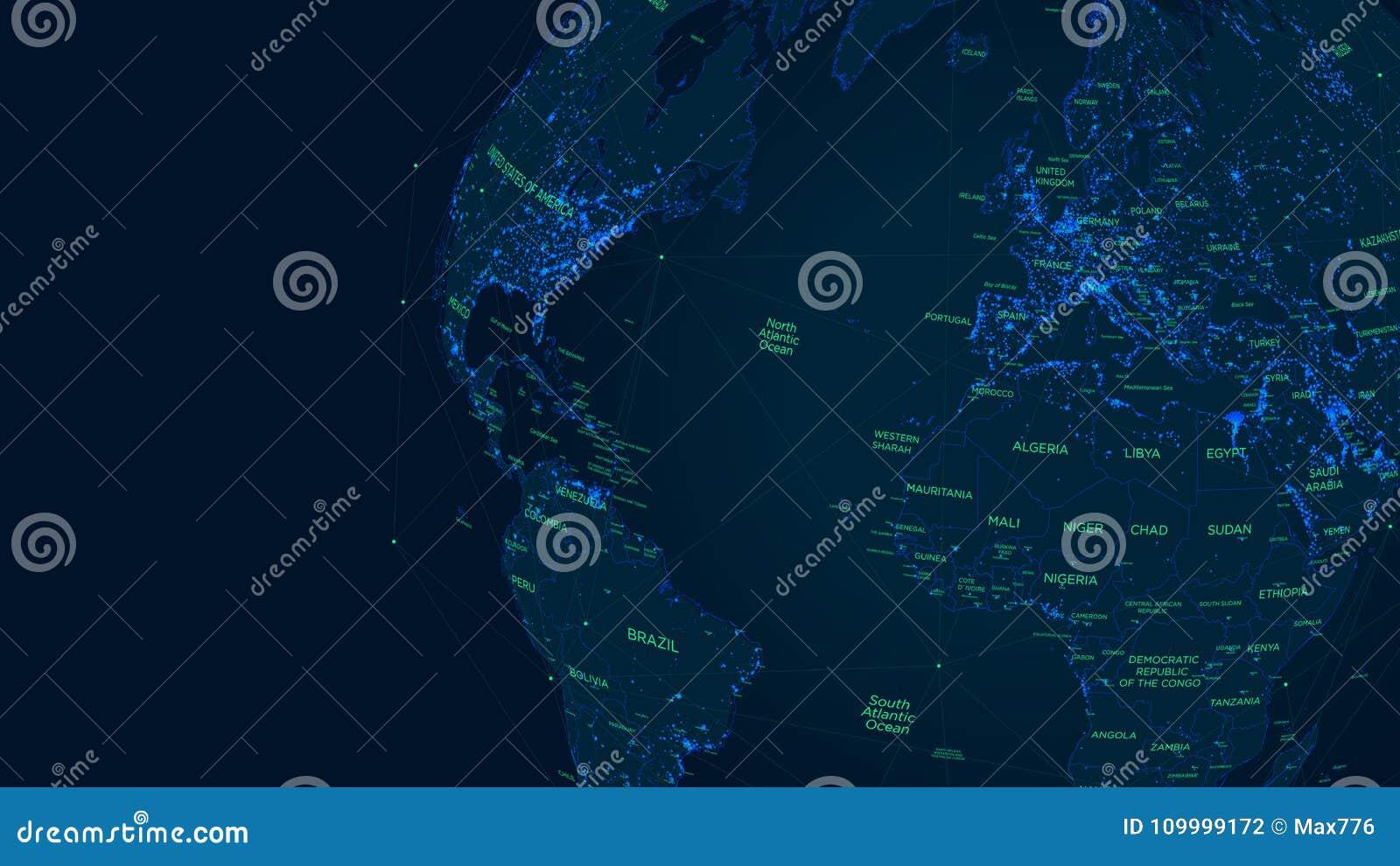 Carte futuriste du monde de réseau global de la science fiction, illustration de vecteur