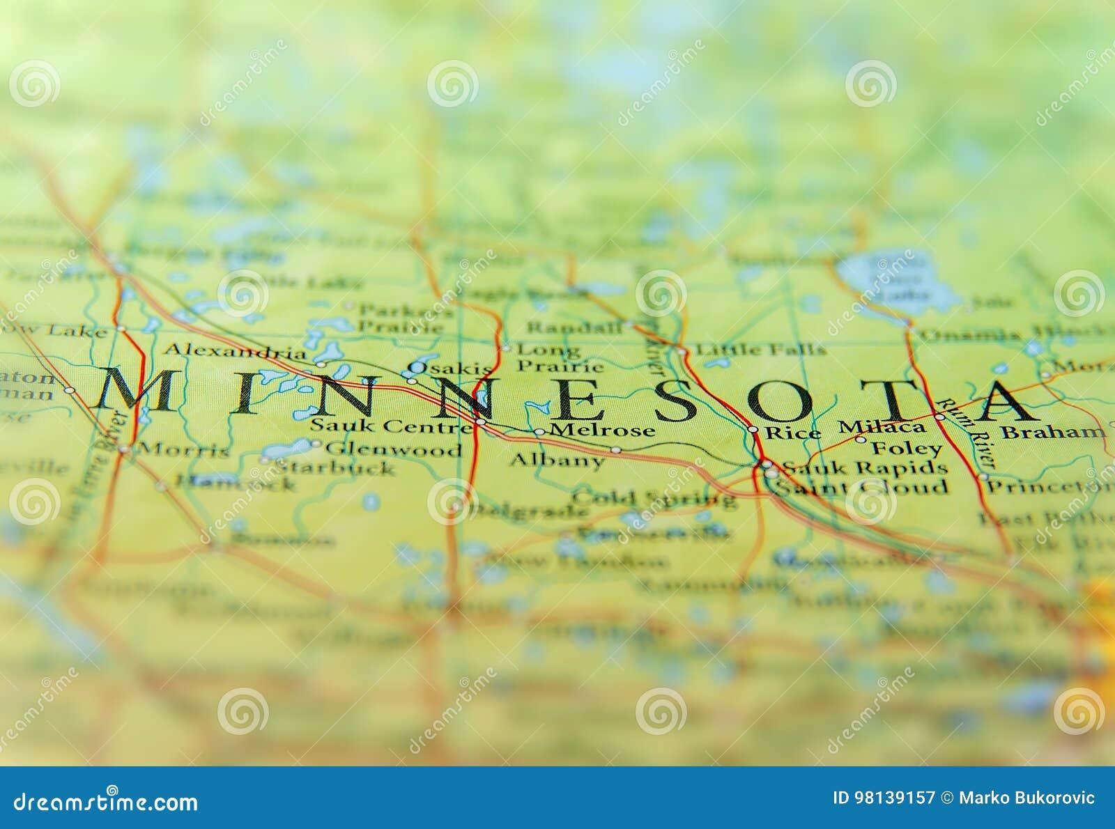 Carte Géographique D'état D'USA Minnesota Avec Les Villes