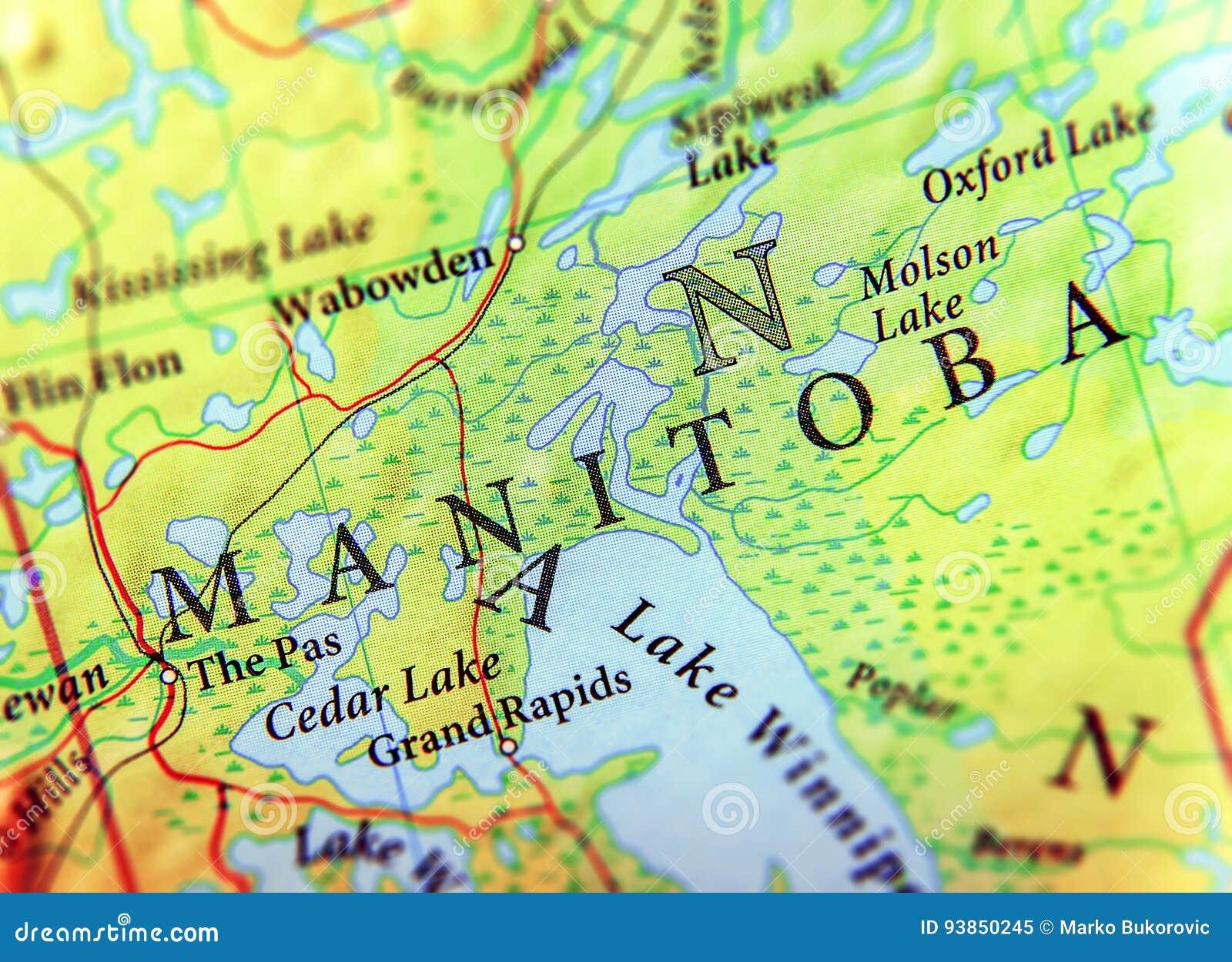 Carte Canada Avec Ville.Carte Geographique D Etat Manitoba De Canada Avec Les Villes