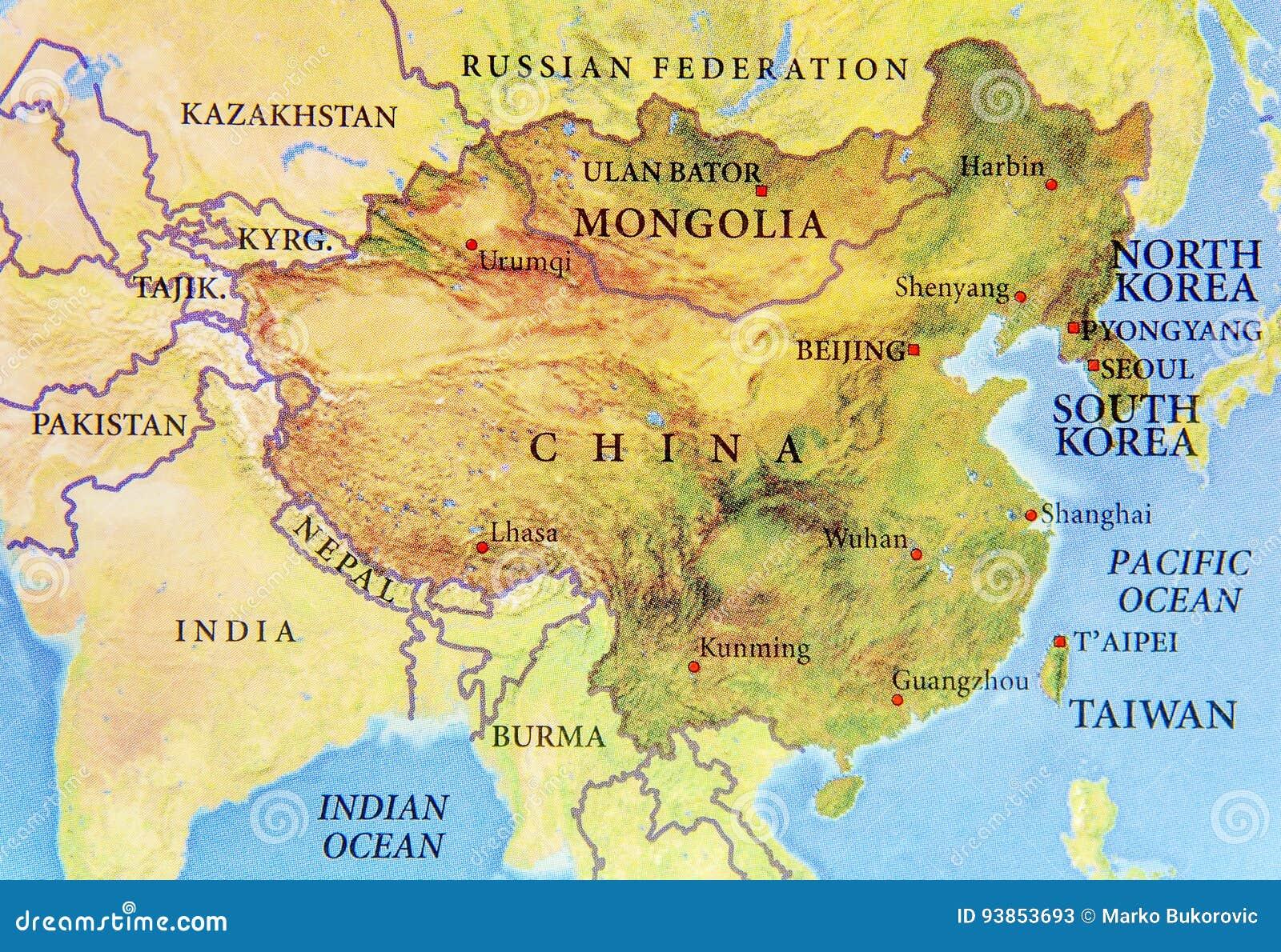 Carte Géographique De Chine, De La Mongolie, De La Corée Du Nord