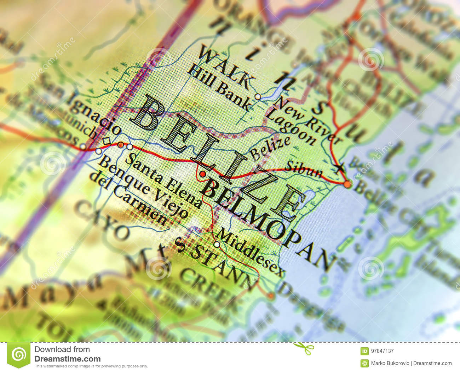 Carte Amerique Du Sud Belize.Carte Geographique De Fin De Belize De Pays De L Amerique Du