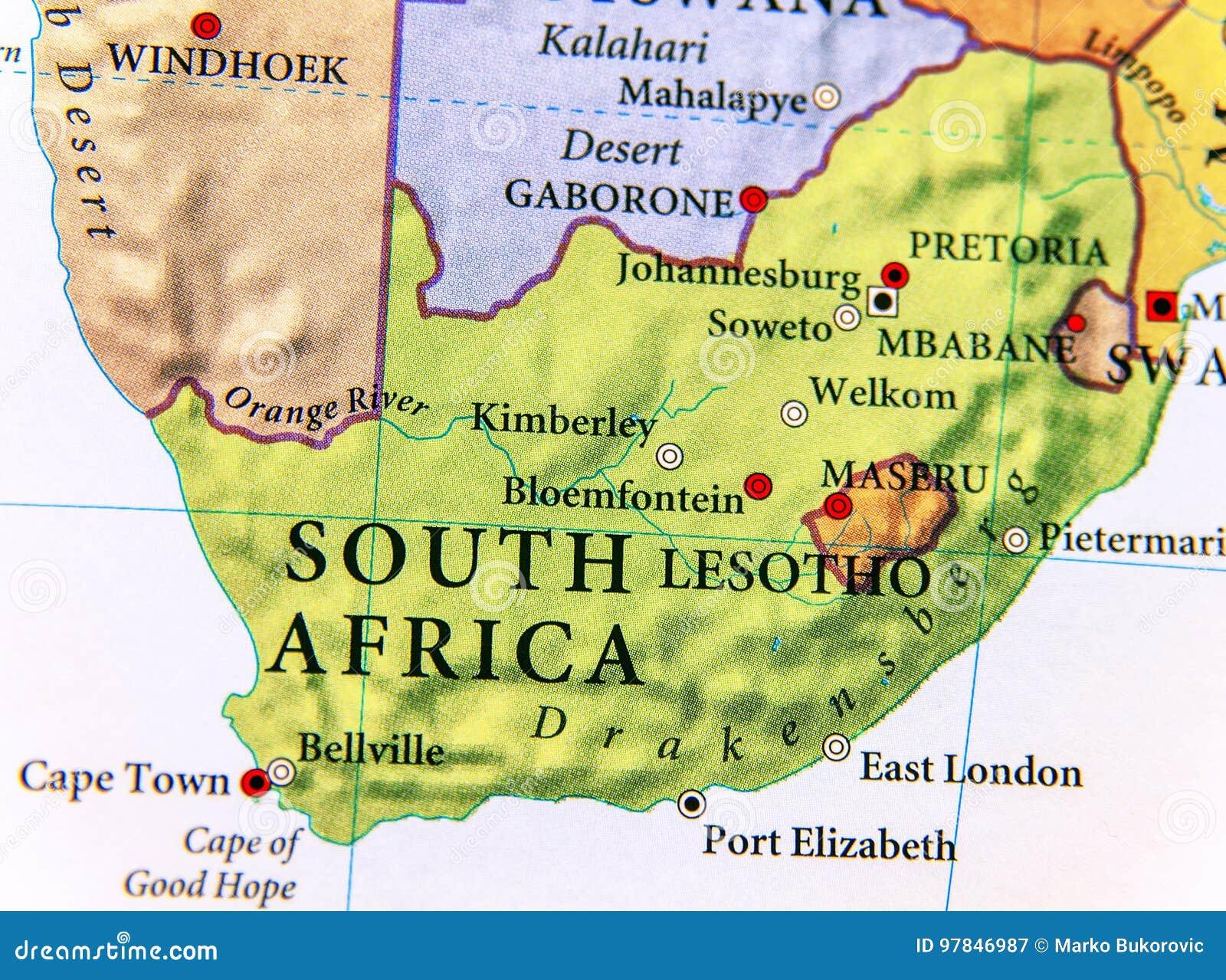 Carte De Lafrique Du Sud Avec Les Villes.Carte Geographique De L Afrique Du Sud Avec Les Villes