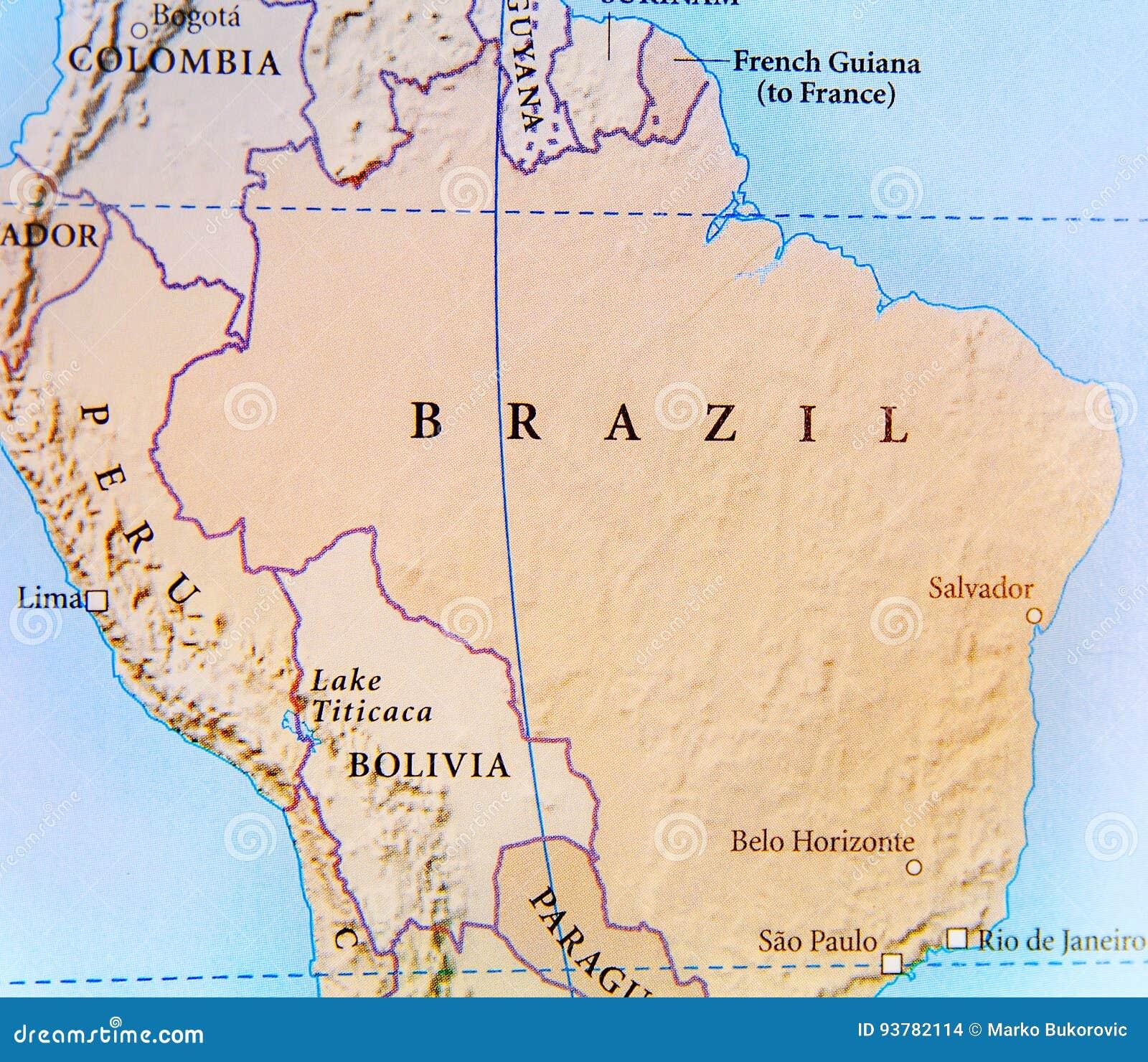 Le Bresil Carte Geographique.Carte Geographique De Pays Du Bresil Avec Les Villes