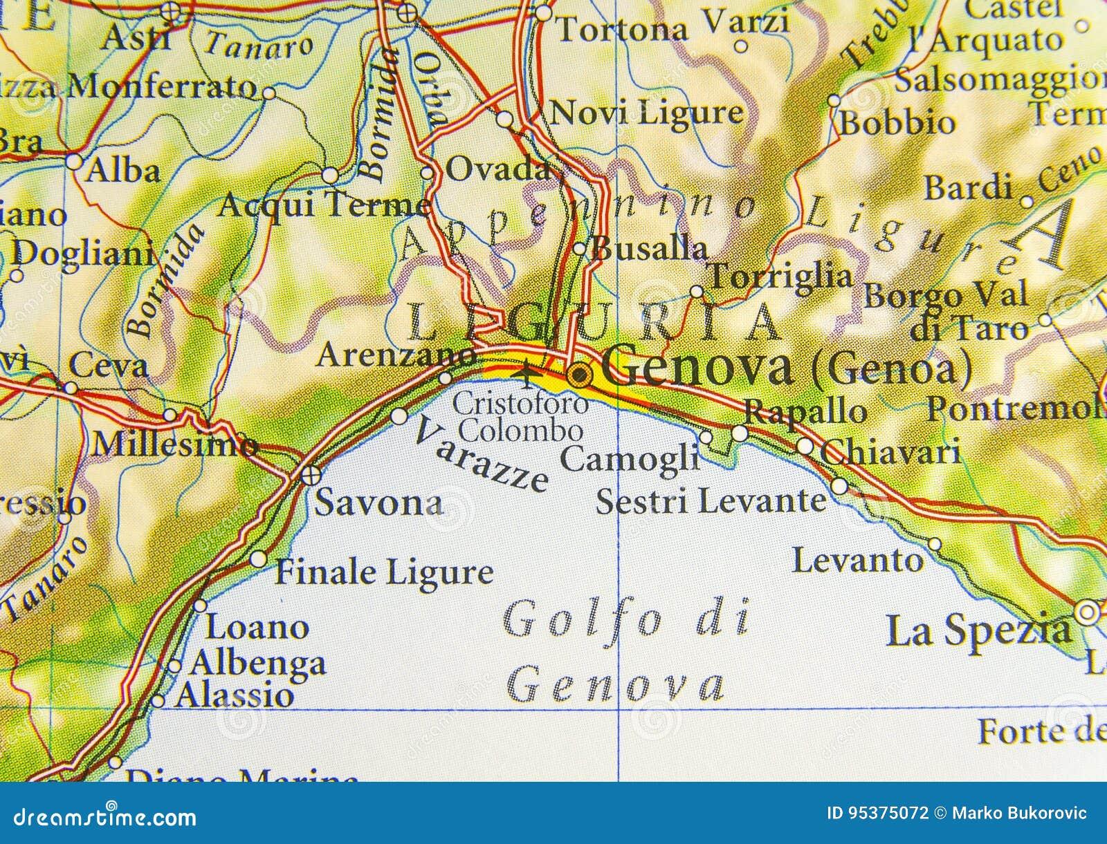 Carte Italie Ligurie.Carte Genes Italie Wideal