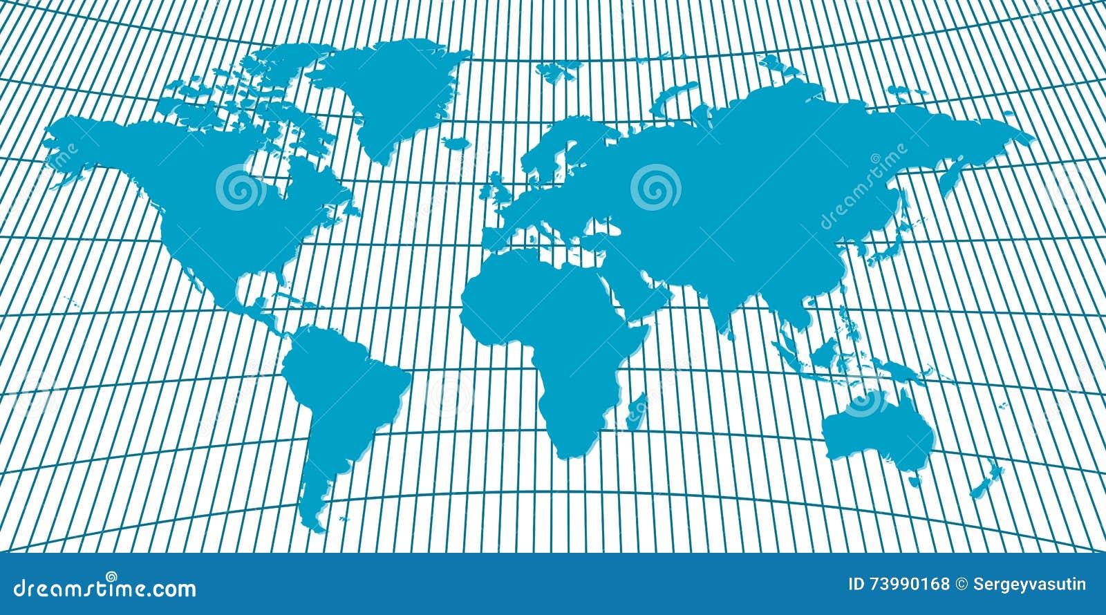 Carte Europe Avec Meridiens.Carte Globus Du Monde De Fond Illustration Stock