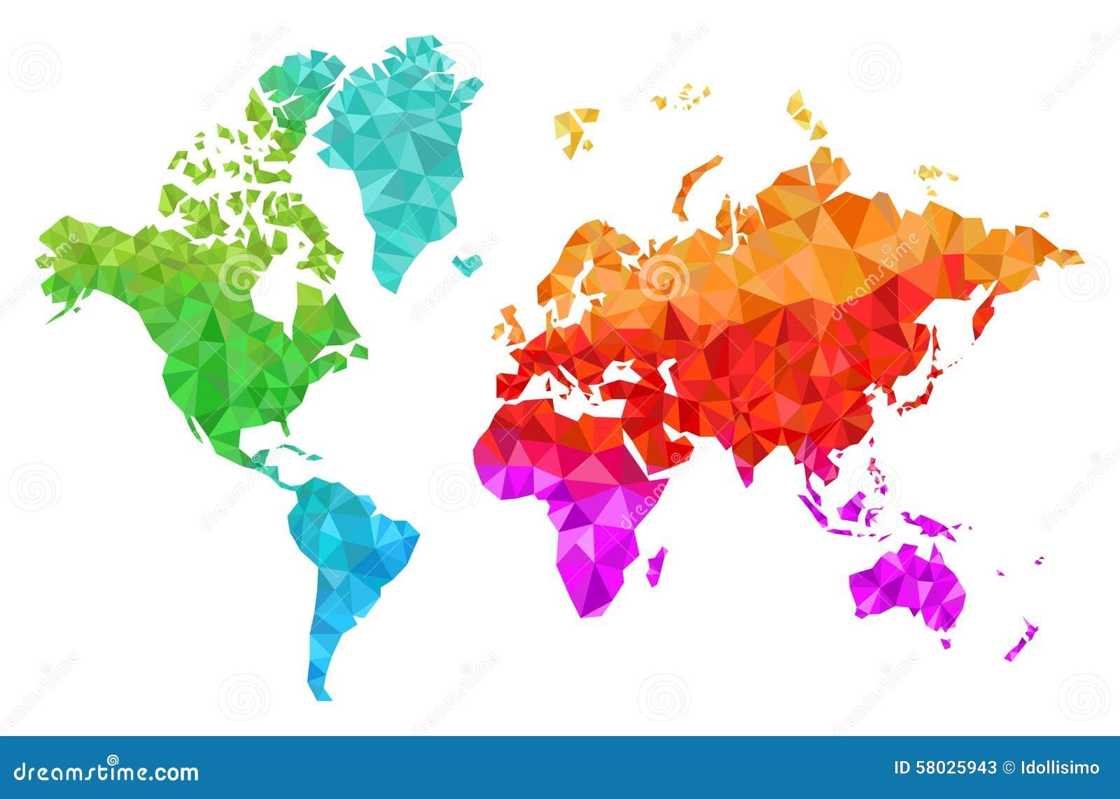 Carte g om trique du monde en couleurs illustration de vecteur image 58025943 - Carte du monde en couleur ...