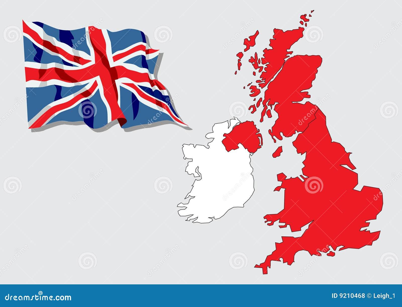 Carte grande de la grande bretagne irlande illustration de - Office du tourisme de grande bretagne ...