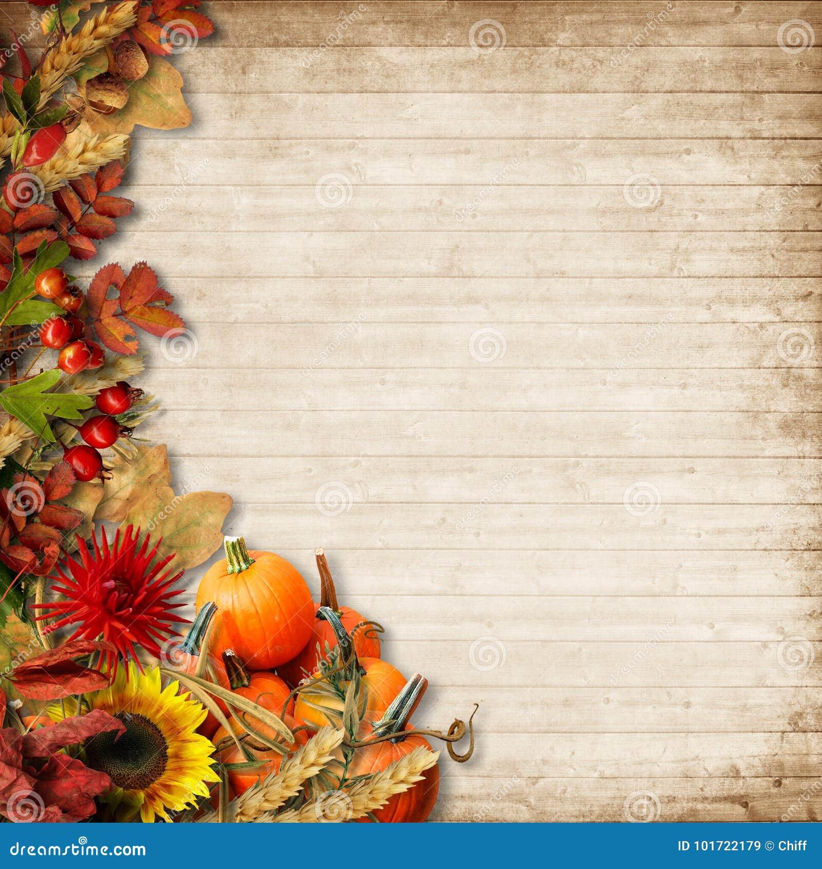 Carte heureuse d action de grâces Fond d automne
