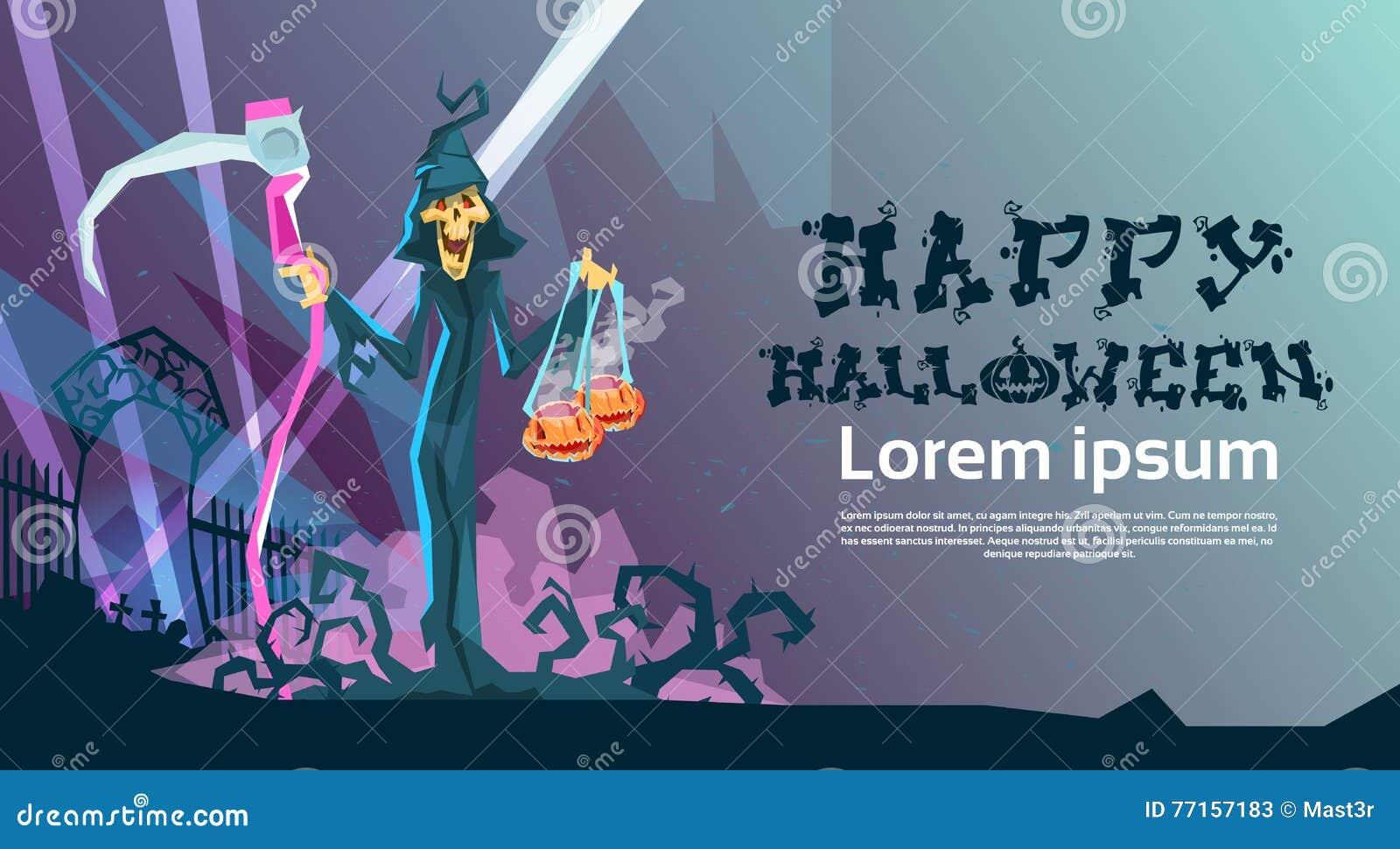 Carte heureuse d invitation de partie de Halloween de faux de prise de faucheuse