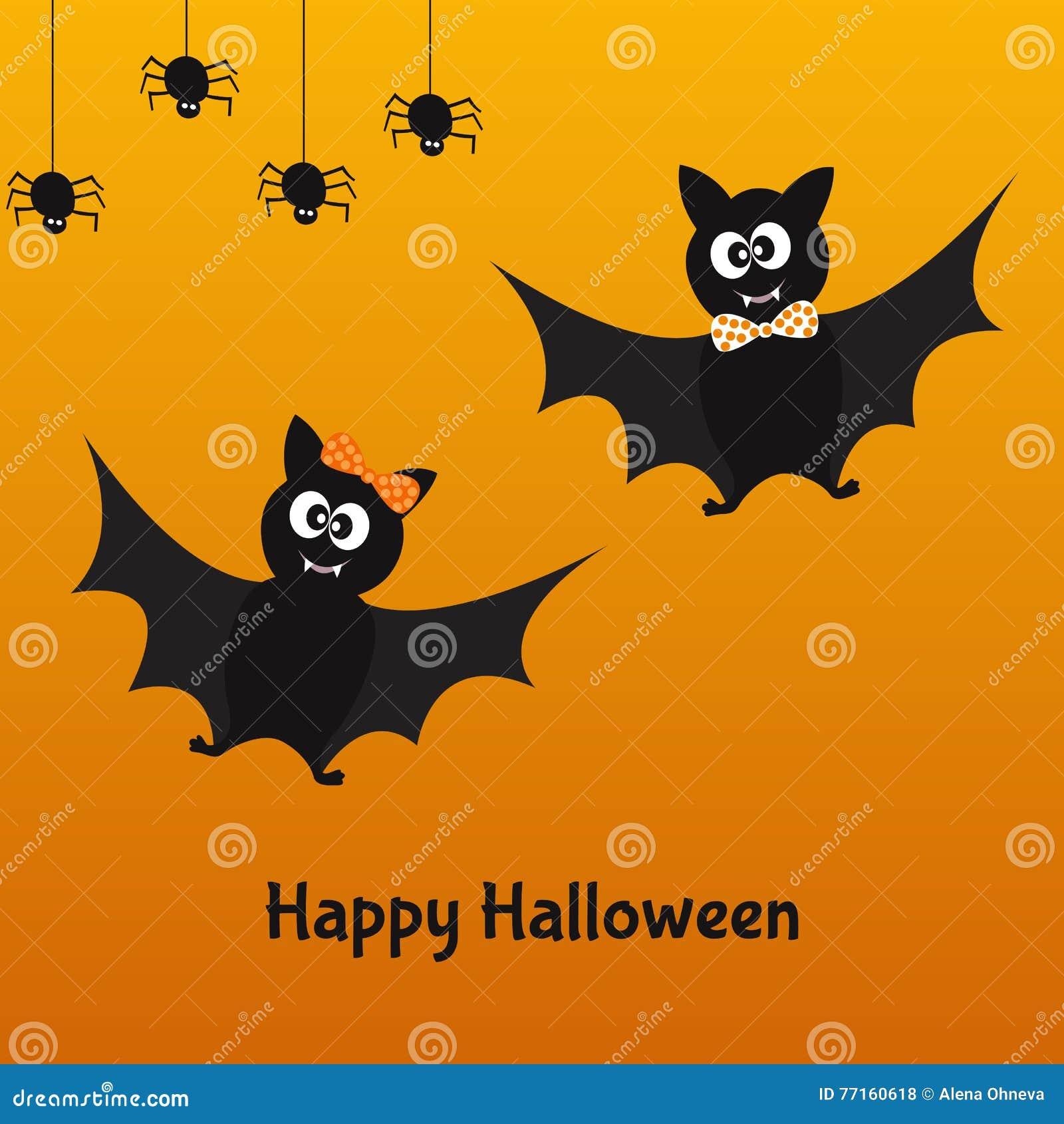 Carte heureuse de Halloween avec des battes et des araignées d amusement