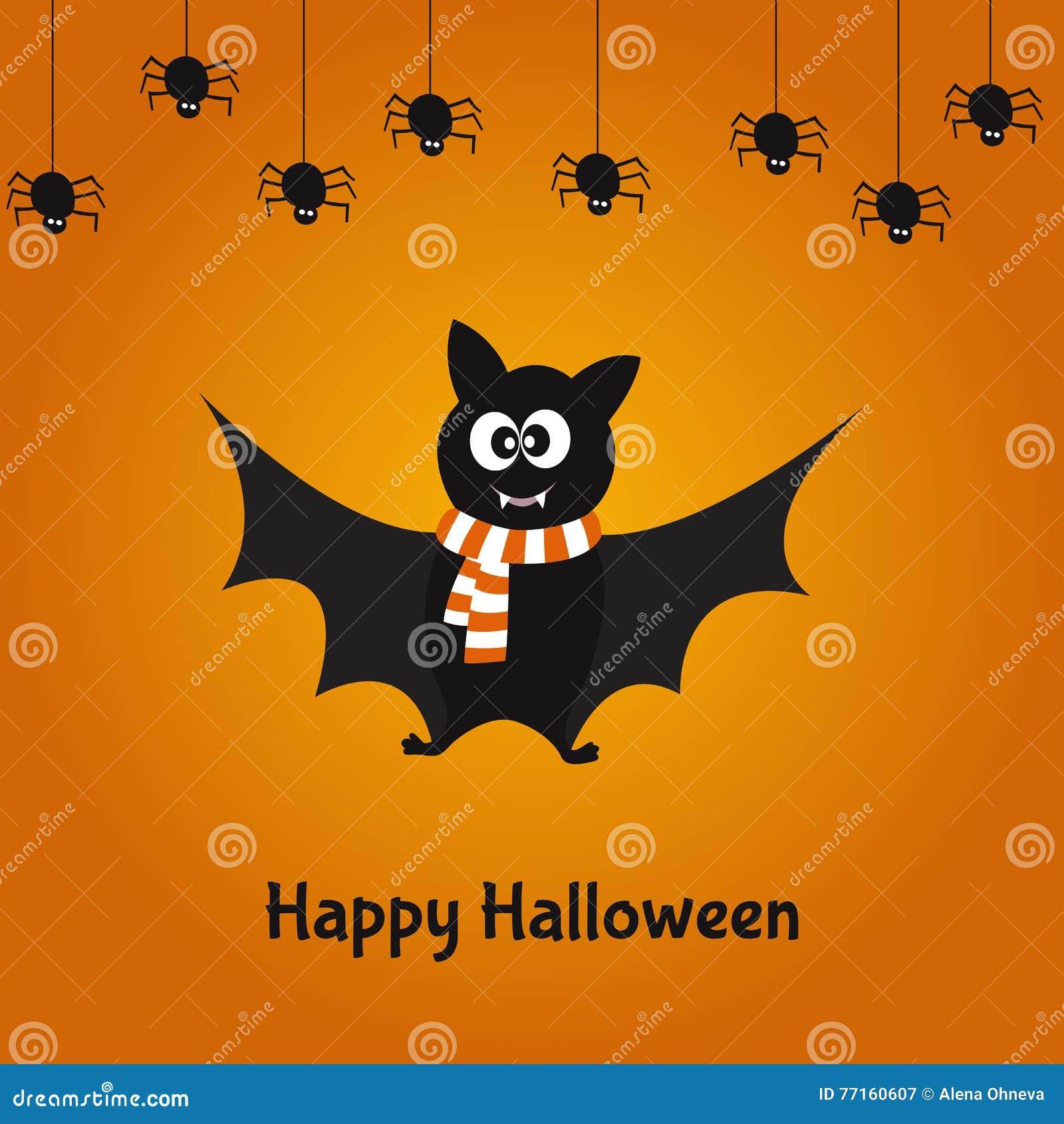 Carte heureuse de Halloween avec la batte et les araignées mignonnes