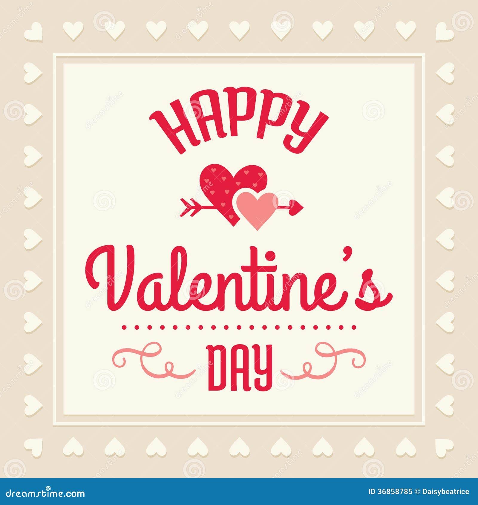 Carte heureuse de jour de valentines en la crème et rouge