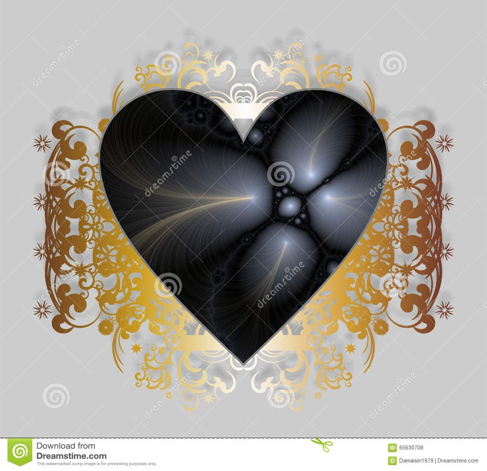 Carte heureuse de Saint-Valentin avec des fractales