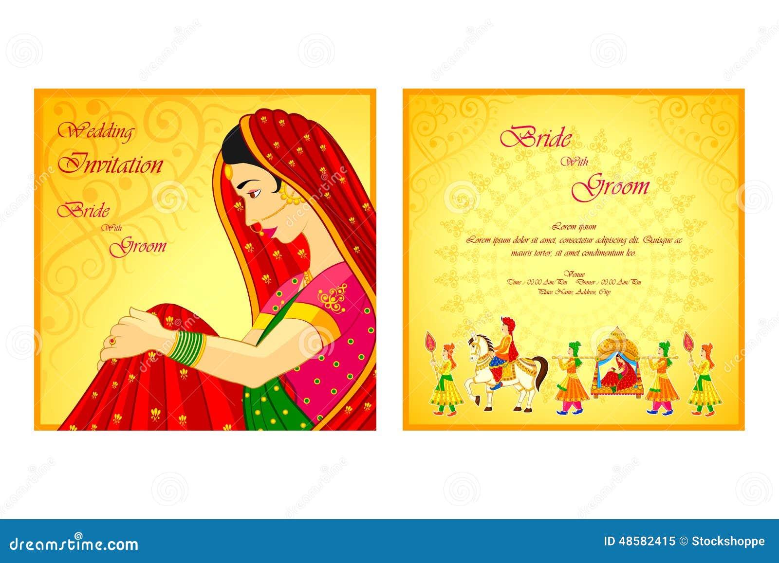 carte indienne d 39 invitation de mariage illustration de. Black Bedroom Furniture Sets. Home Design Ideas
