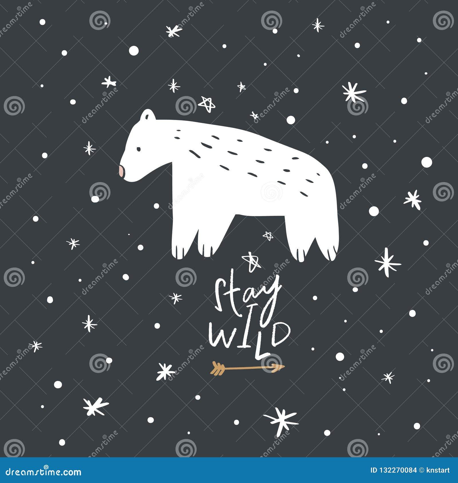 Carte inspirée de crèche avec l ours blanc mignon