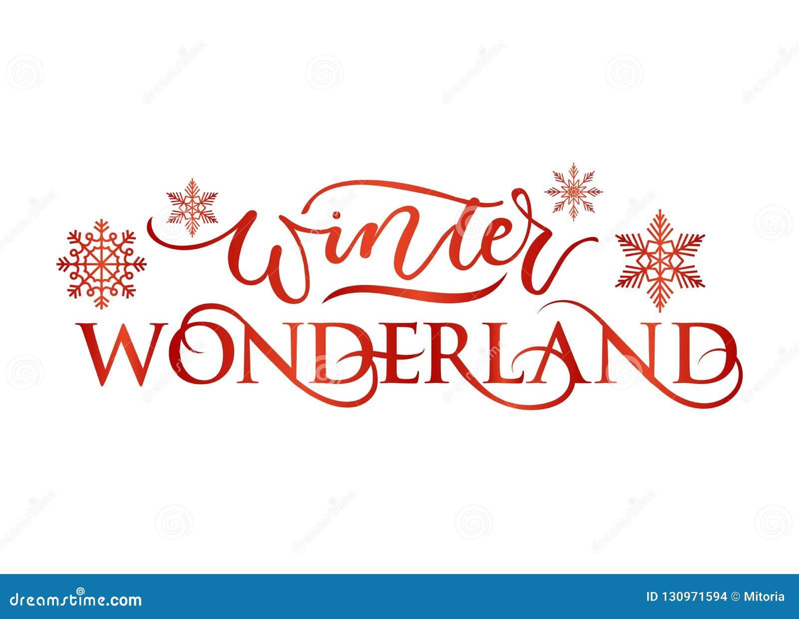 Carte inspirée de vacances du pays des merveilles d hiver avec le lettrage