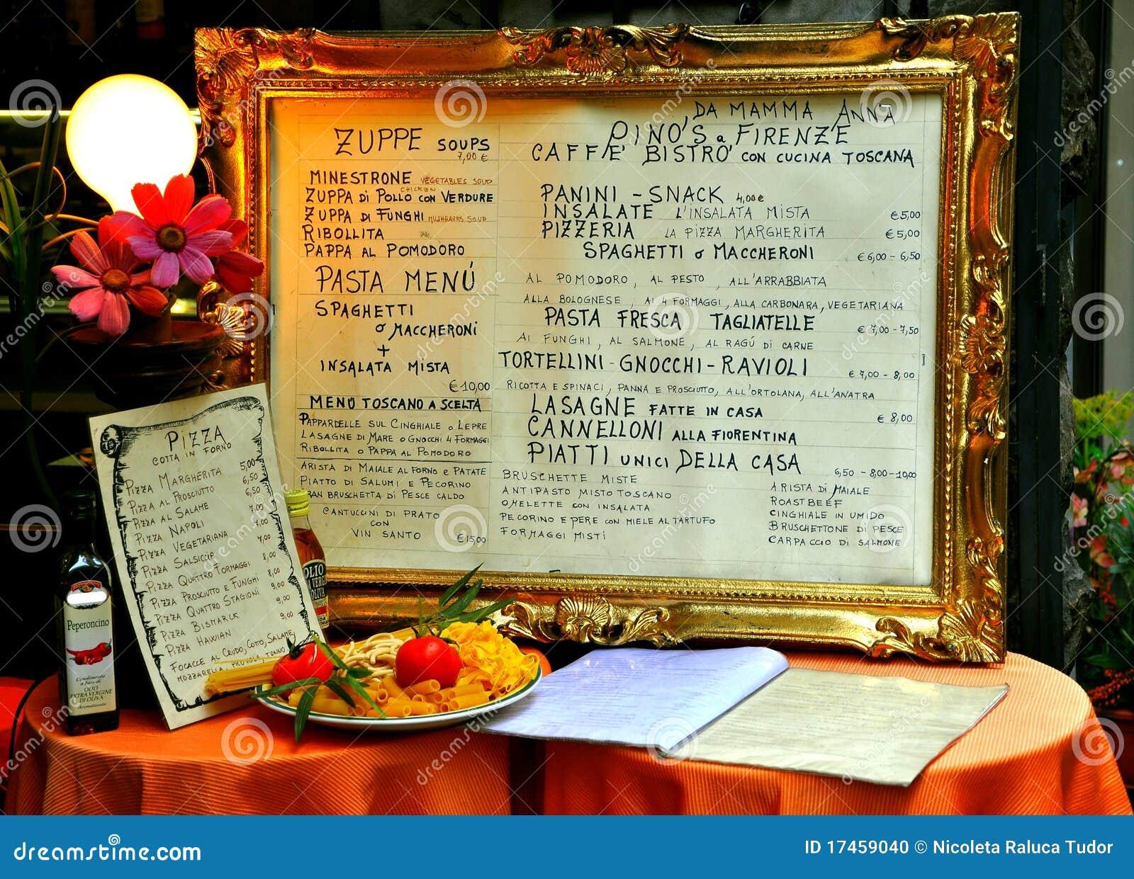 Carte italienne de restaurant sur une table image - Restaurant carte sur table cavaillon ...