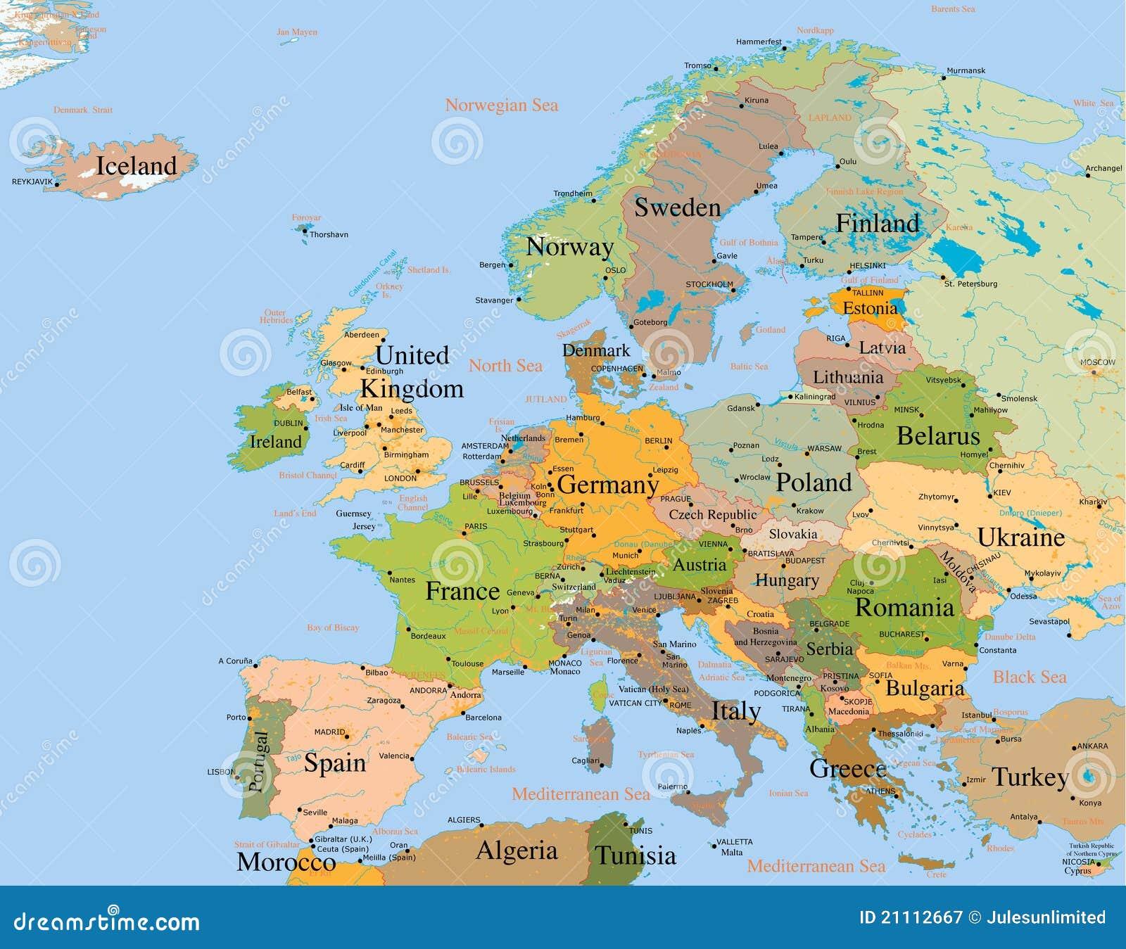 carte de l europe détaillée Carte l'Europe   détaillée image stock. Image du globe   21112667
