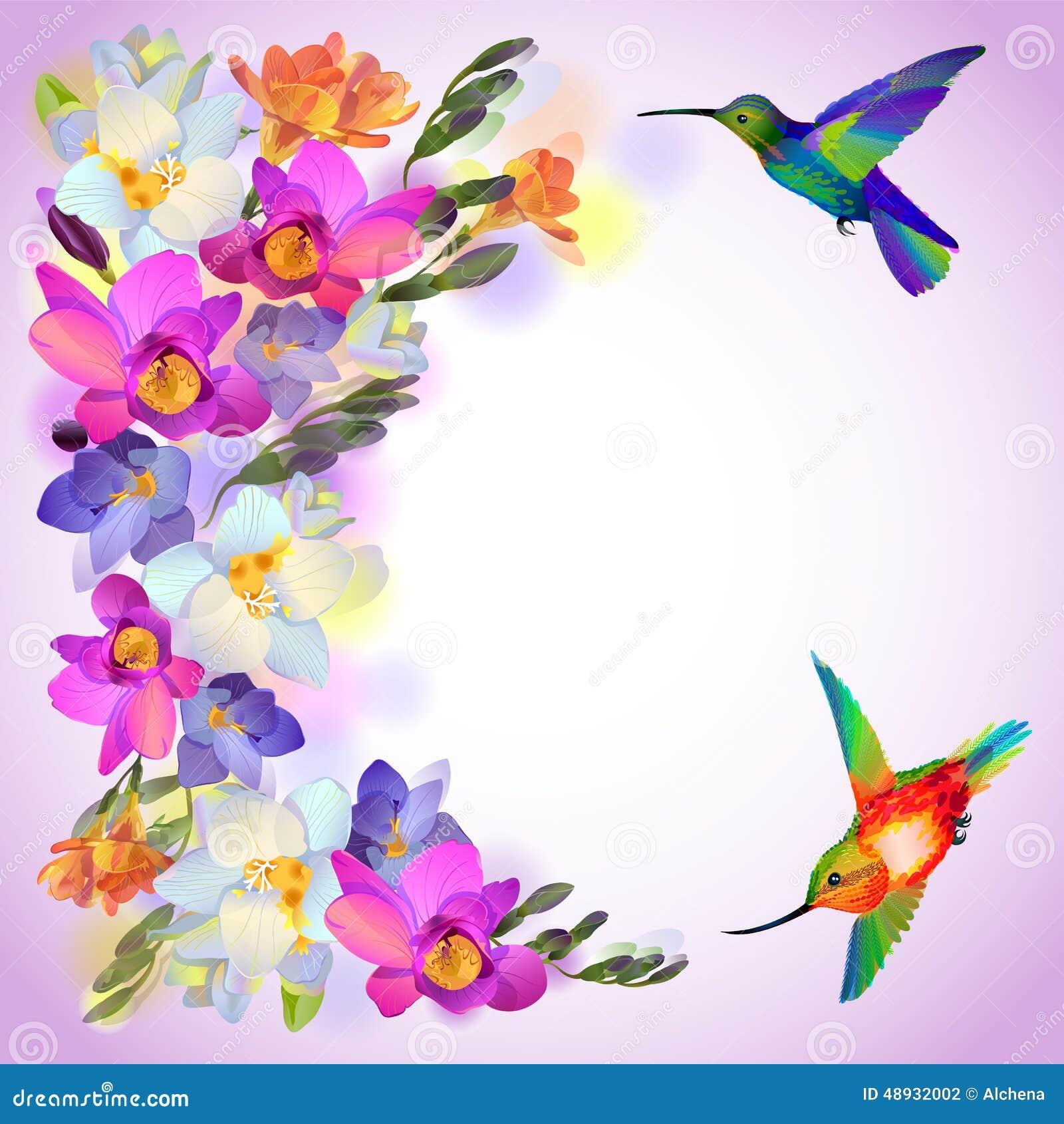 Carte Lilas Avec Des Fleurs De Freesia Et Des Oiseaux De Ronflement Illustration de Vecteur ...