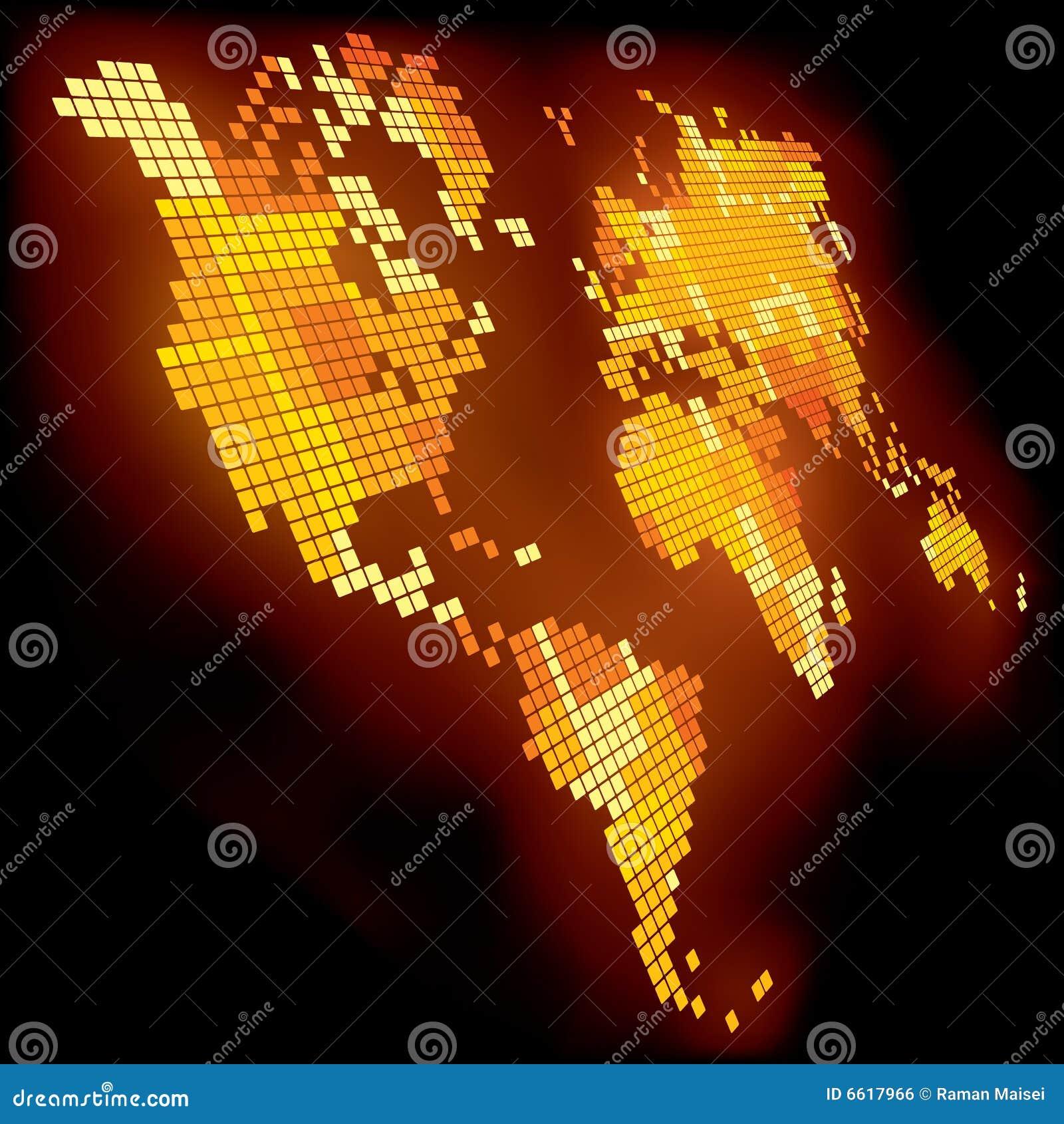 Carte Du Monde Lumineuse.Carte Lumineuse Du Monde Illustration De Vecteur