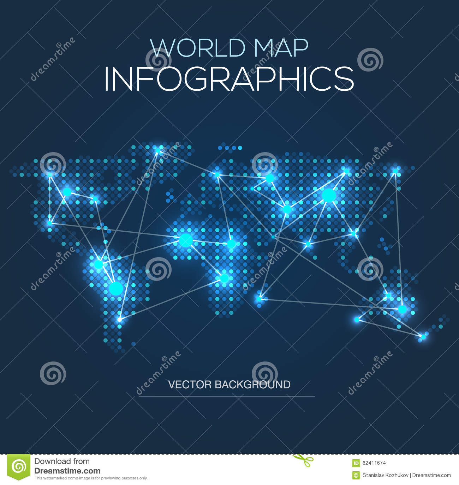 Carte Du Monde Lumineuse.Carte Lumineuse Du Monde Infographic Illustration De Vecteur