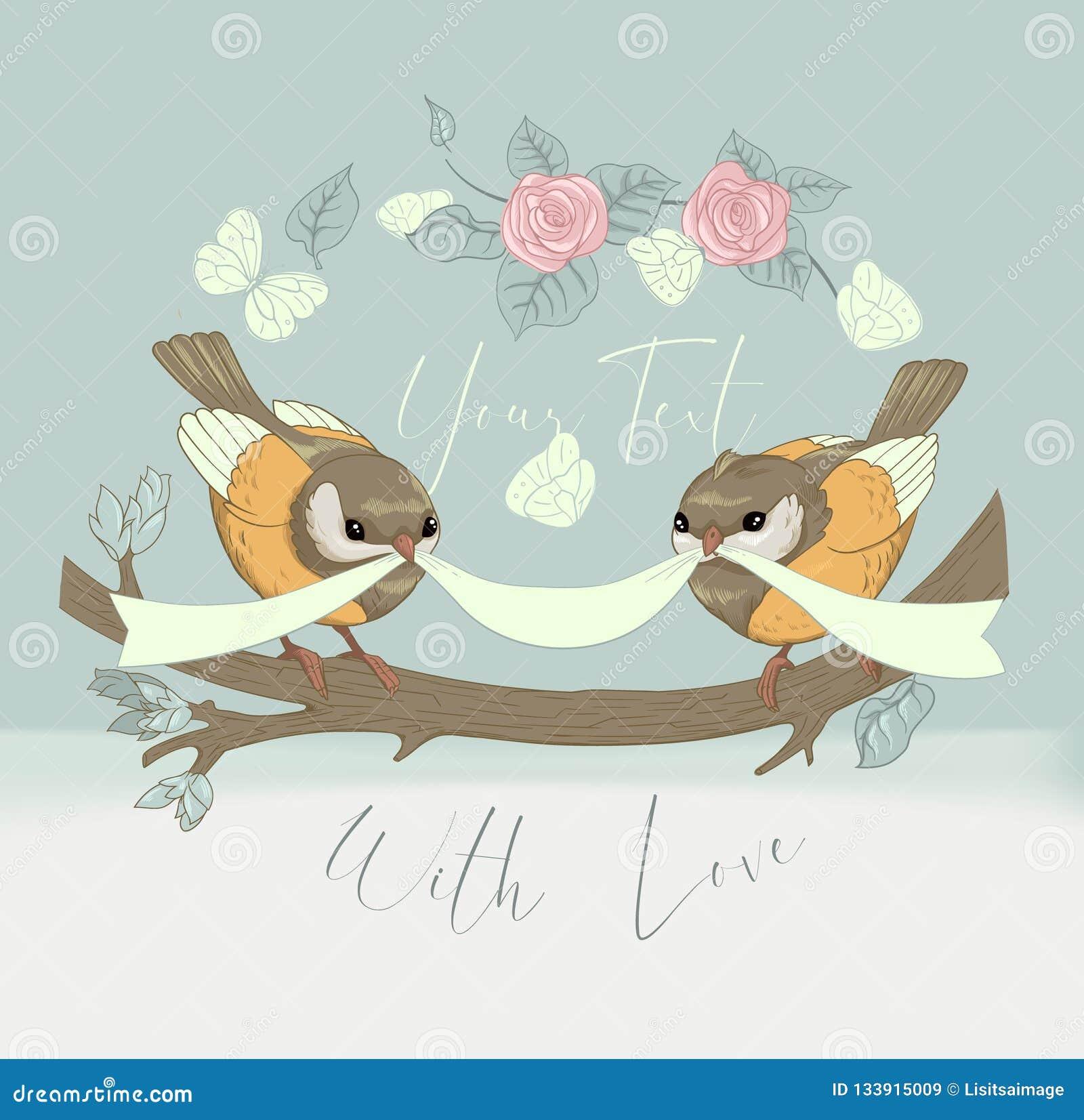 Carte Mignonne De Couples D Oiseau Avec La Fleur De Cru Belle Banniere Circulaire De Salutation De Joyeux Anniversaire Invitation Illustration De Vecteur Illustration Du Anniversaire Avec 133915009