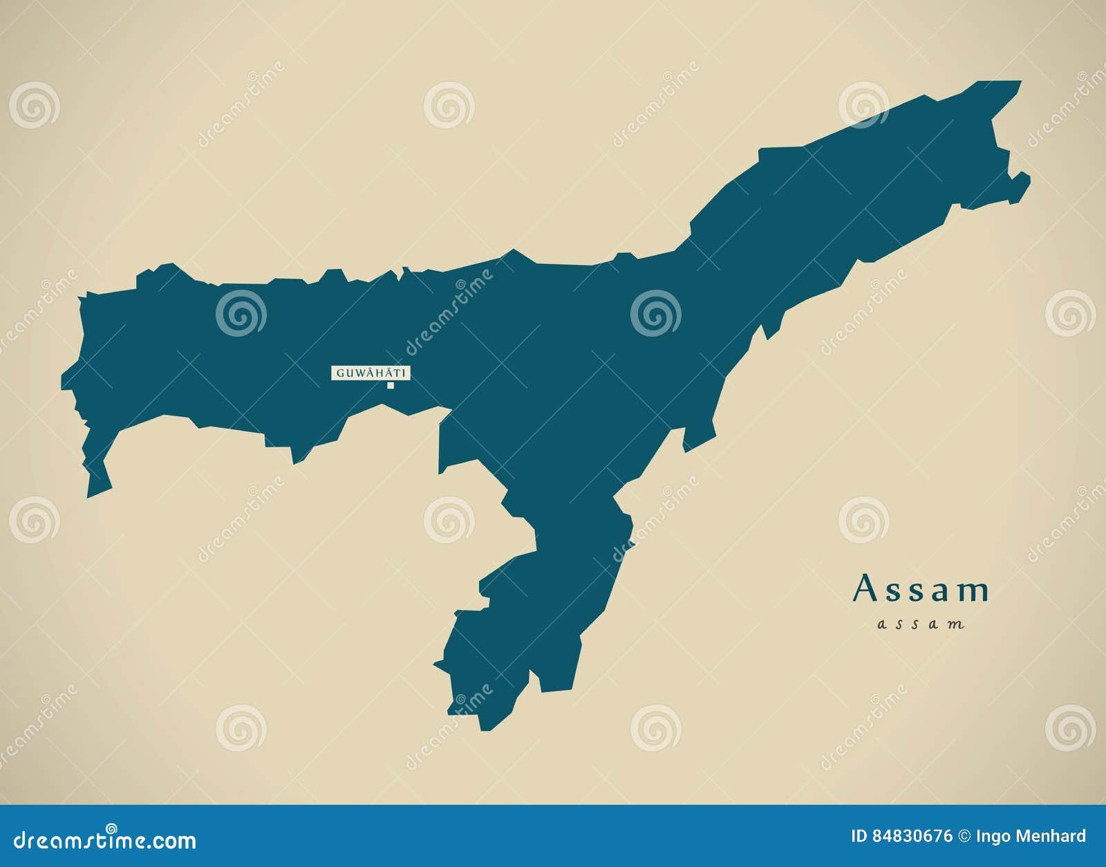 Carte Inde Assam.Carte Moderne Assam Dans L Illustration D Etat Federal D