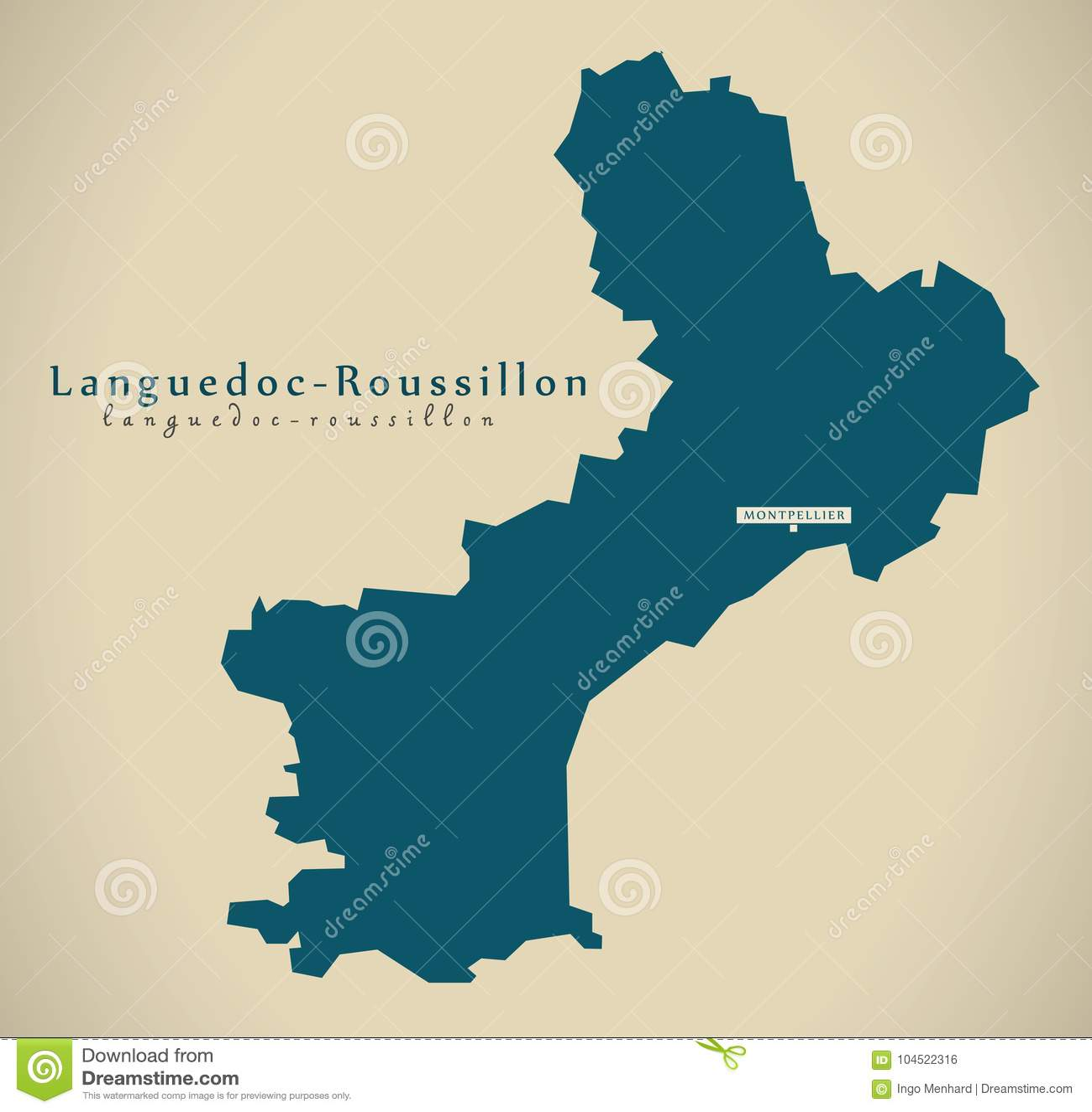 Carte Languedoc Roussillon.Carte Moderne France Franc De Languedoc Roussillon Illustration