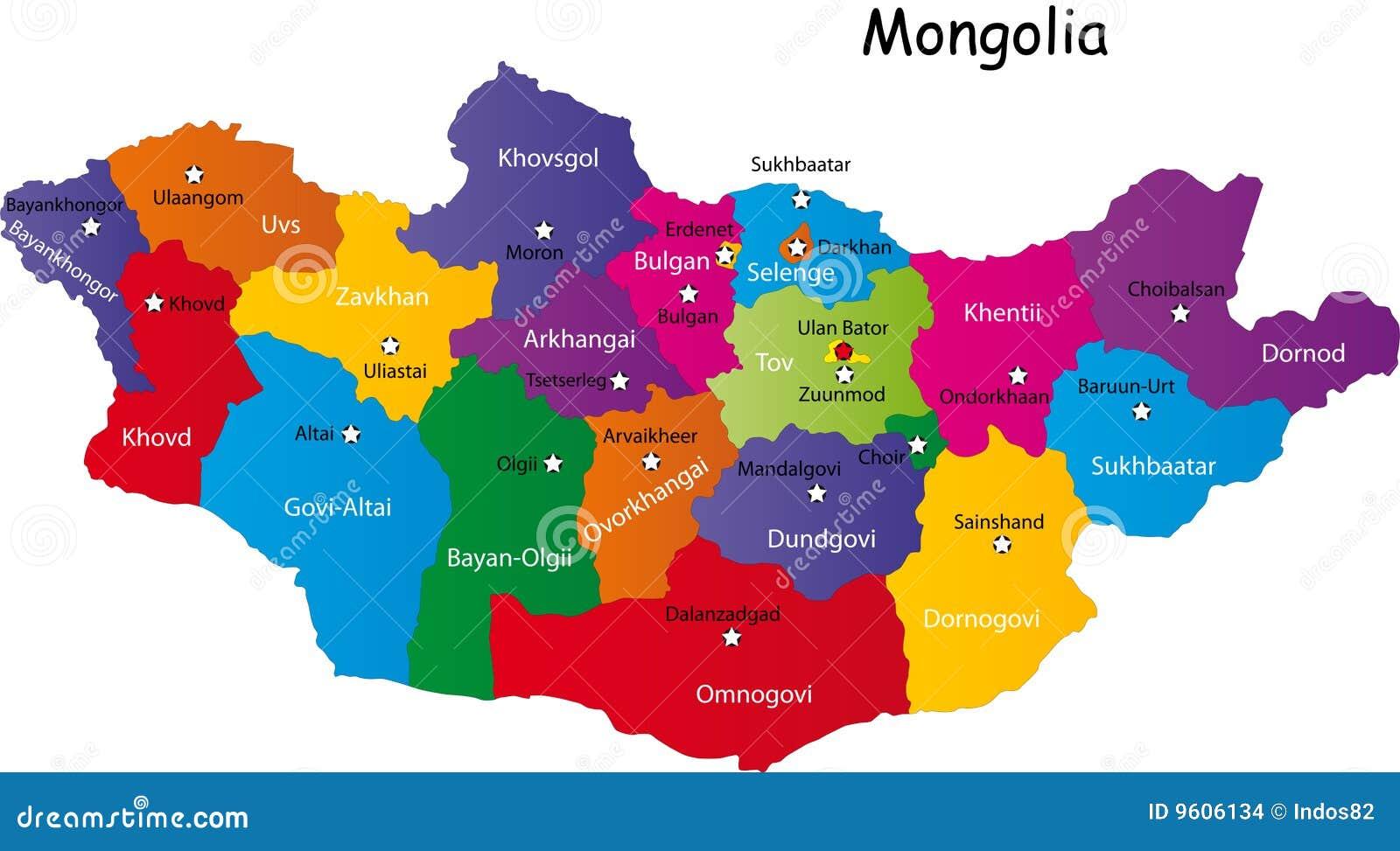 Carte Mongolie illustration de vecteur. Illustration du isolement - 9606134
