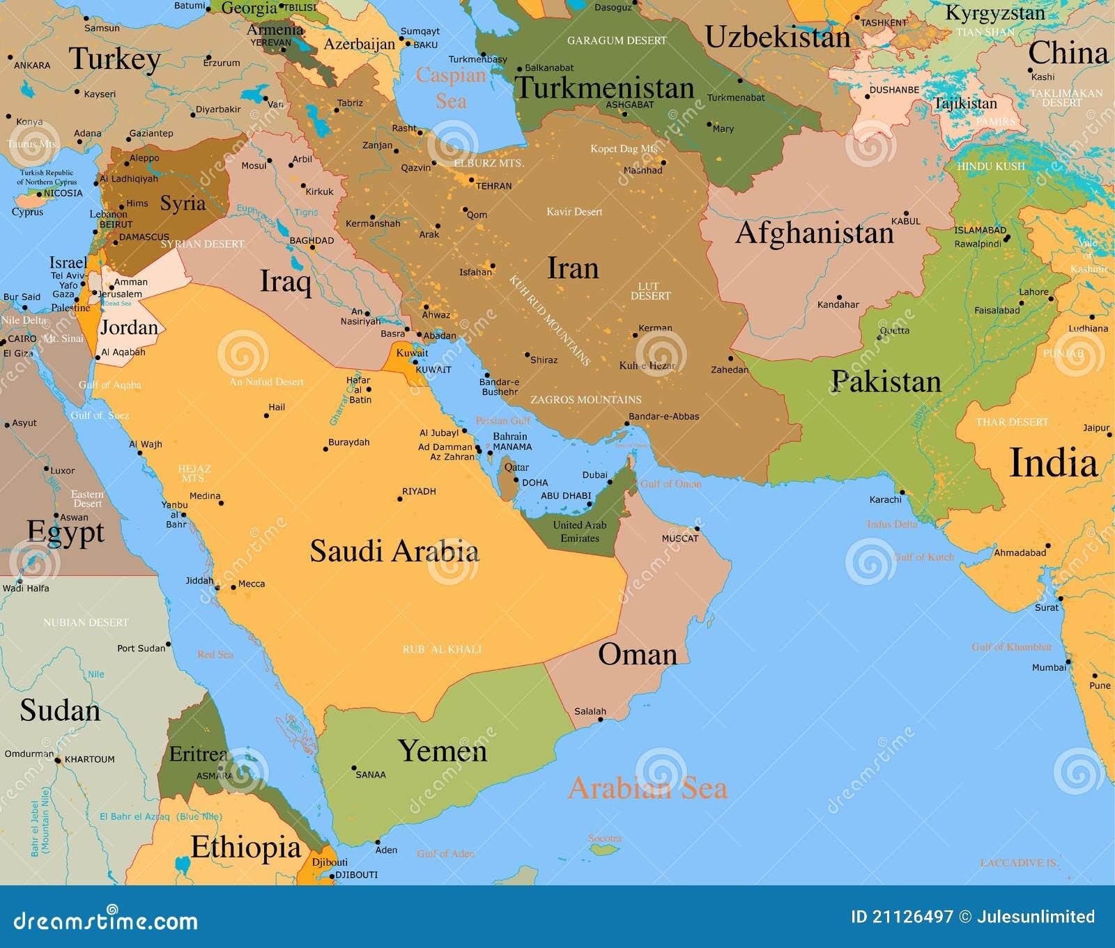 Carte Moyen-Orient - vecteur - détaillé
