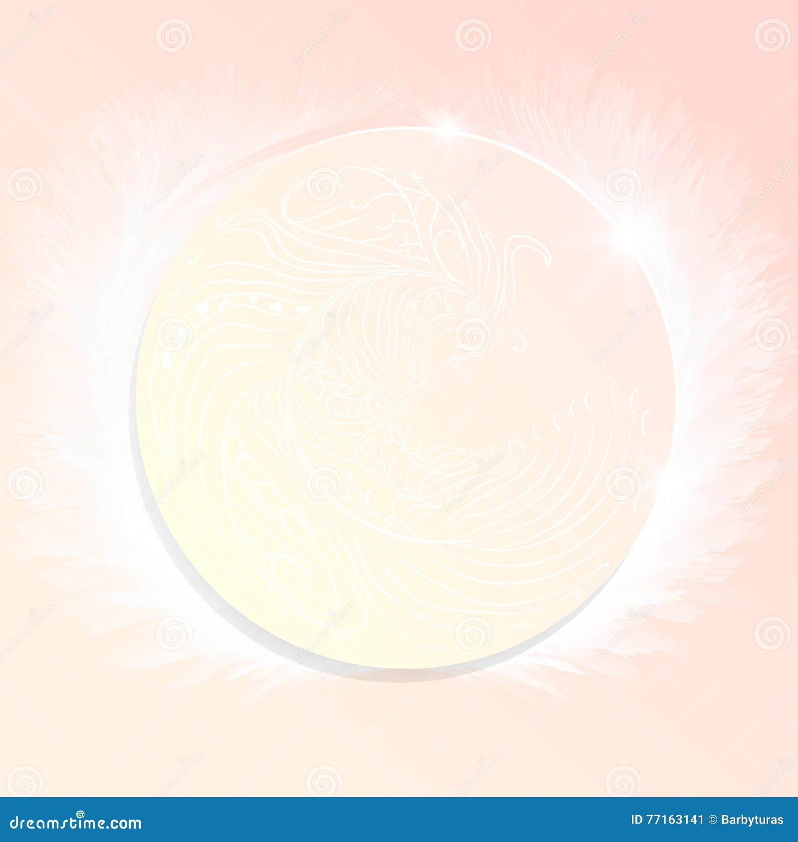 Carte Ornement de plume sur un cercle de papier