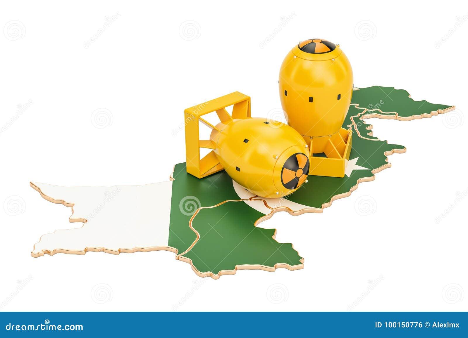 Carte pakistanaise avec le concept d arme nucléaire, rendu 3D