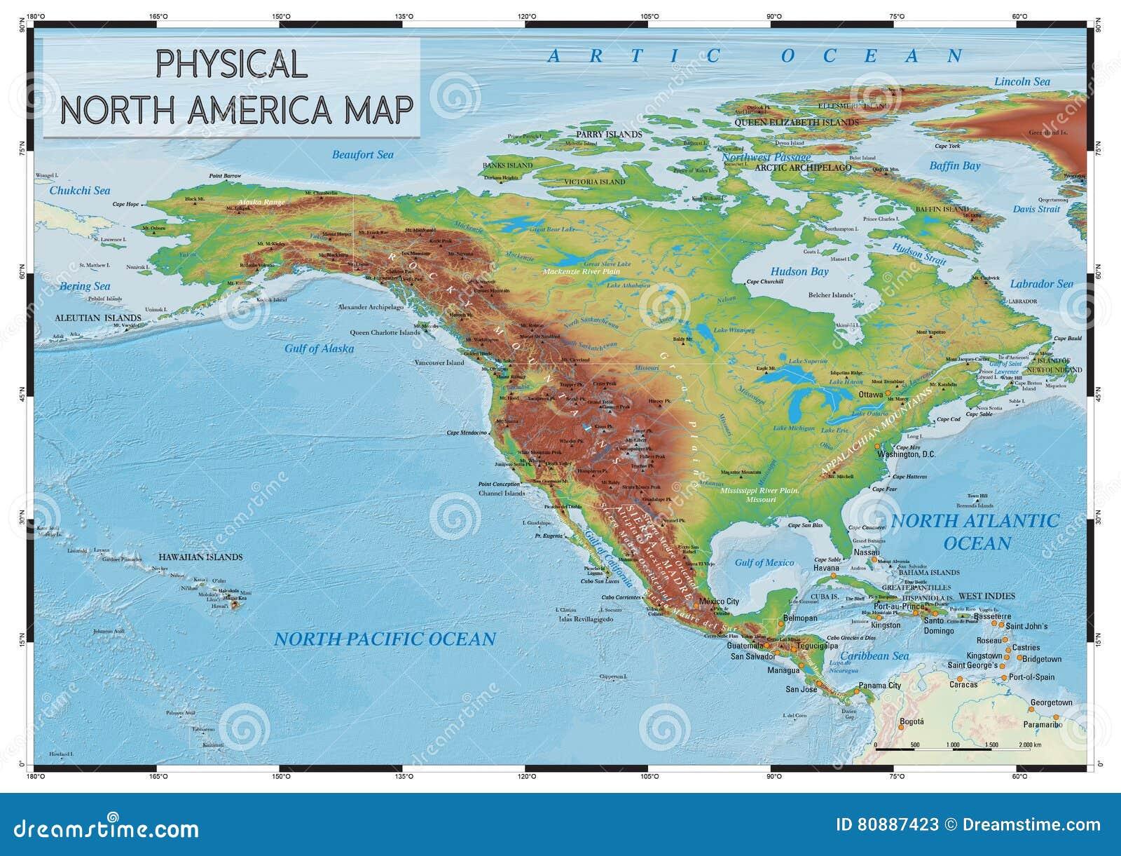 Carte Amerique Physique.Carte Physique De L Amerique Du Nord Illustration De Vecteur