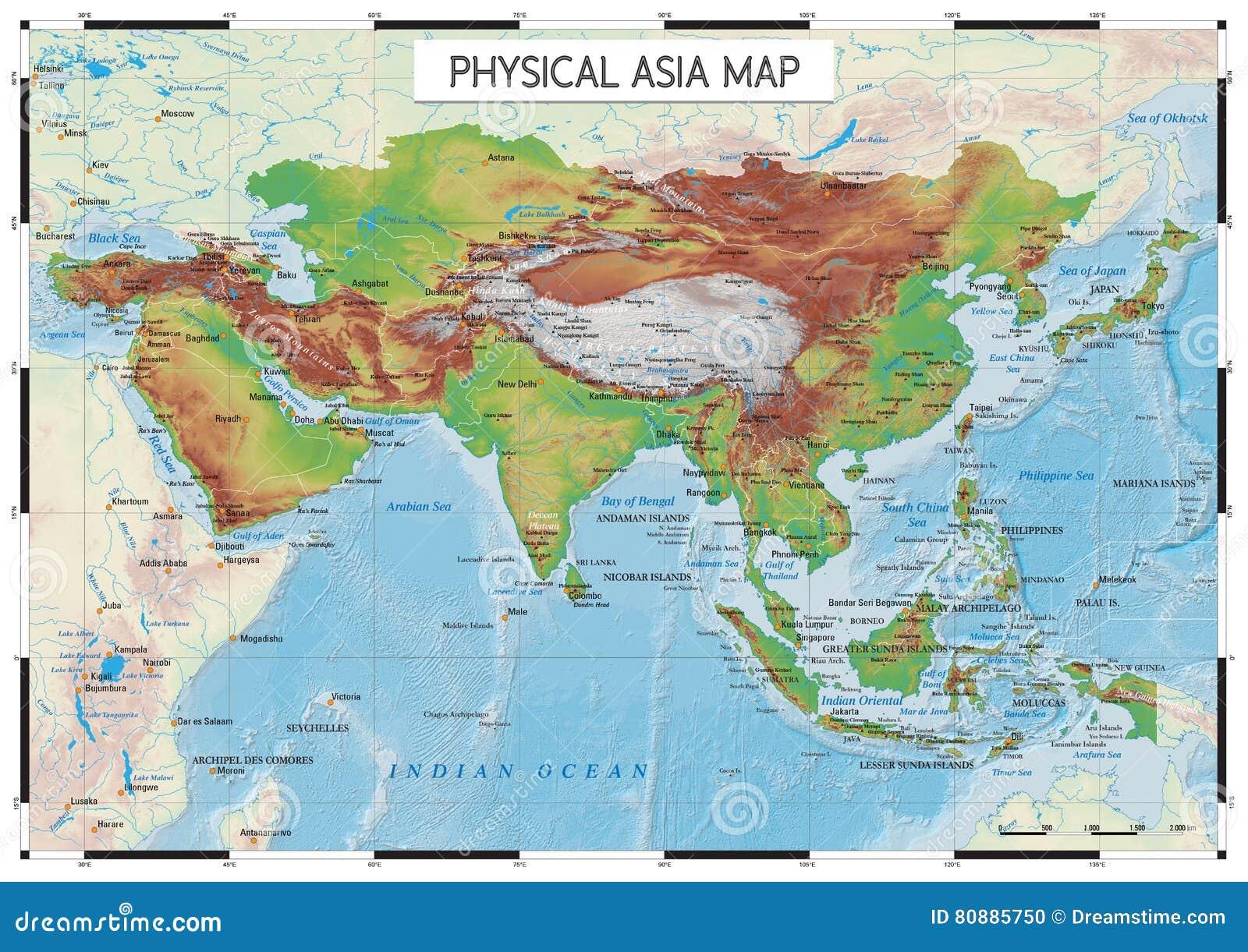 Carte Geo De Lasie.Carte Physique De L Asie Illustration De Vecteur