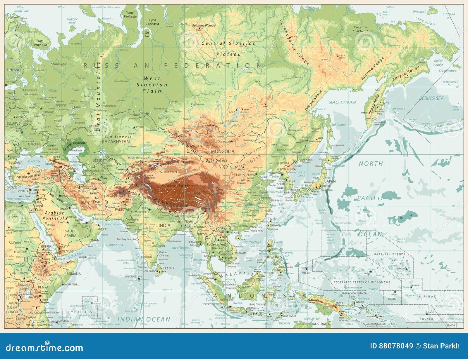 Carte physique de l Asie avec des rivières, des lacs et des altitudes