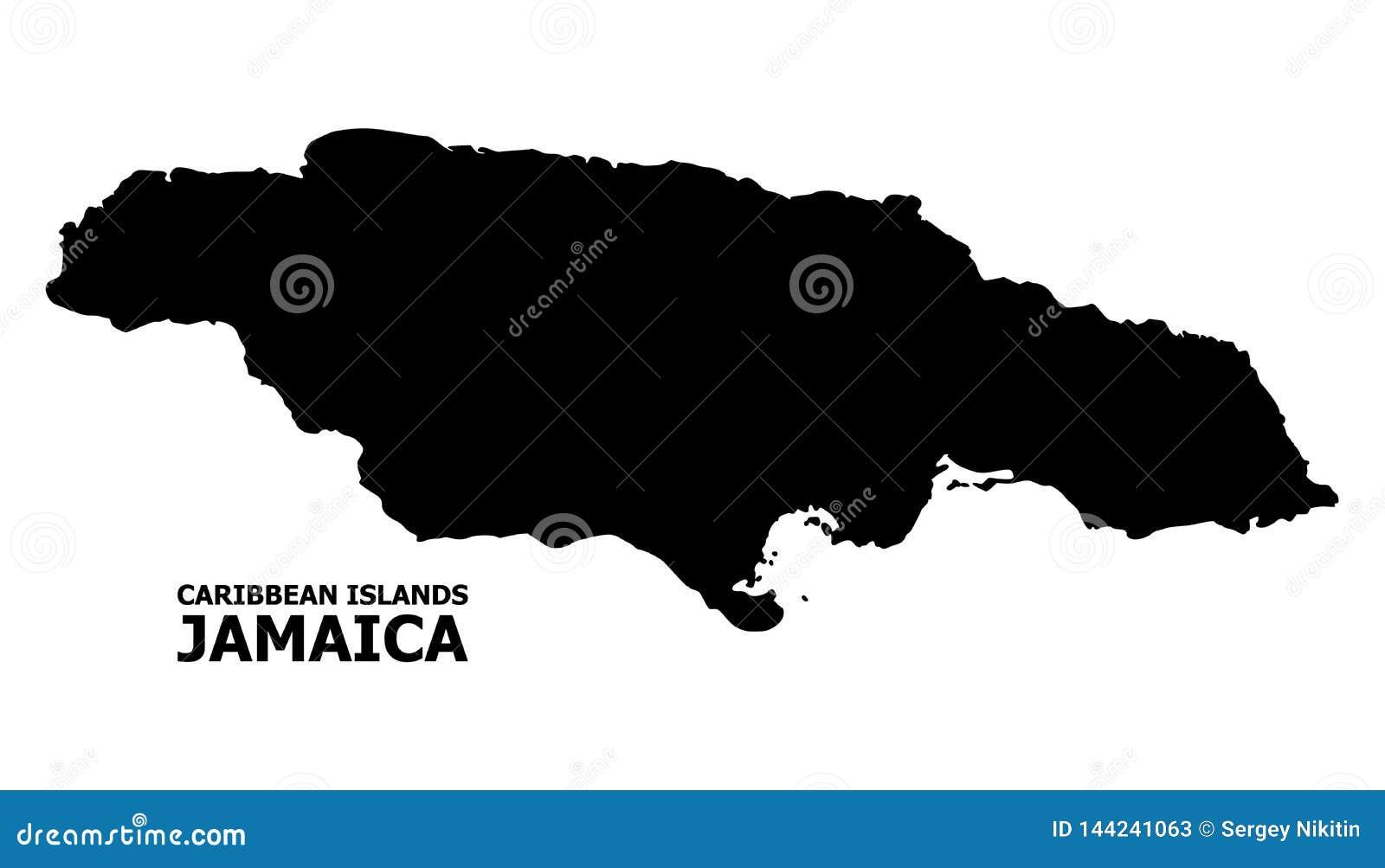 Carte plate de vecteur de la Jamaïque avec le nom