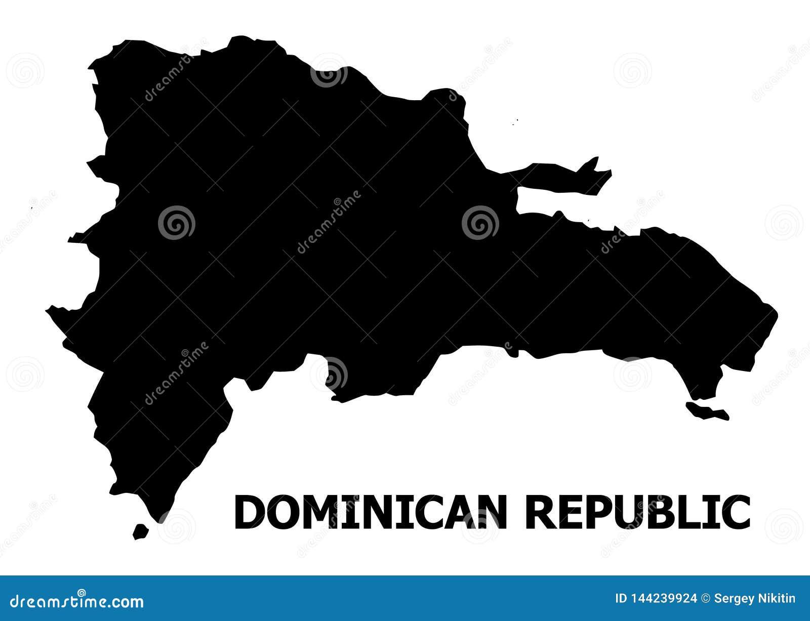 Carte plate de vecteur de la République Dominicaine avec le nom