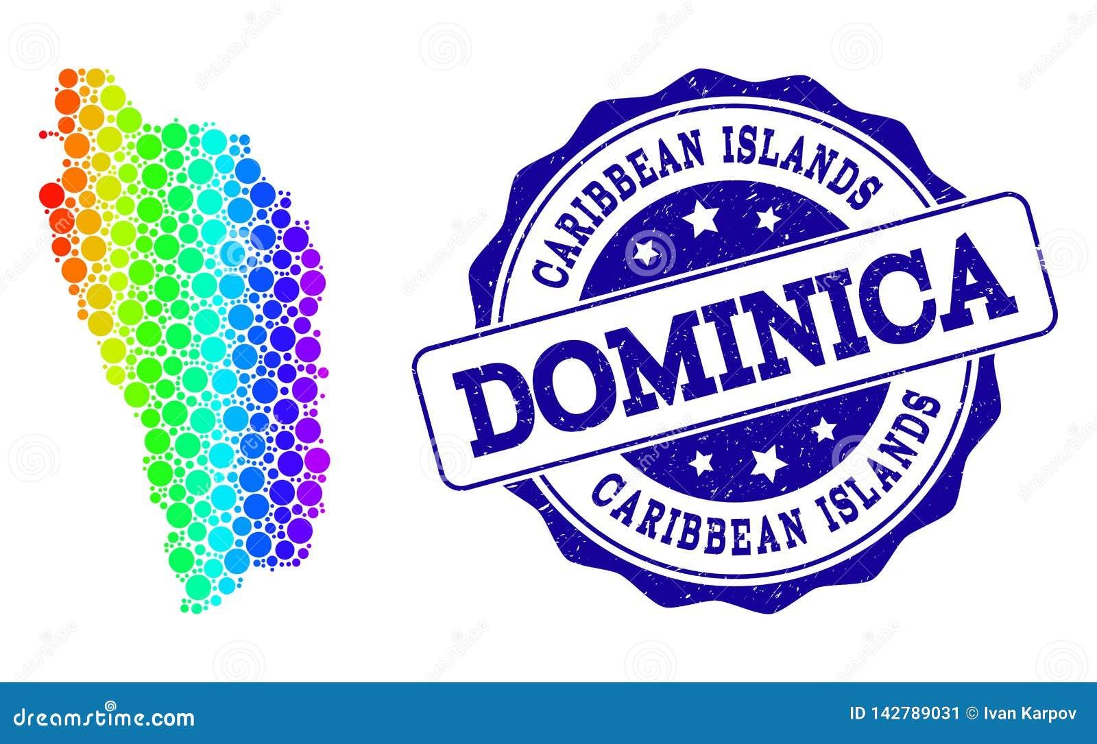 Carte pointillée de spectre de Dominica Island et de phoque grunge de timbre