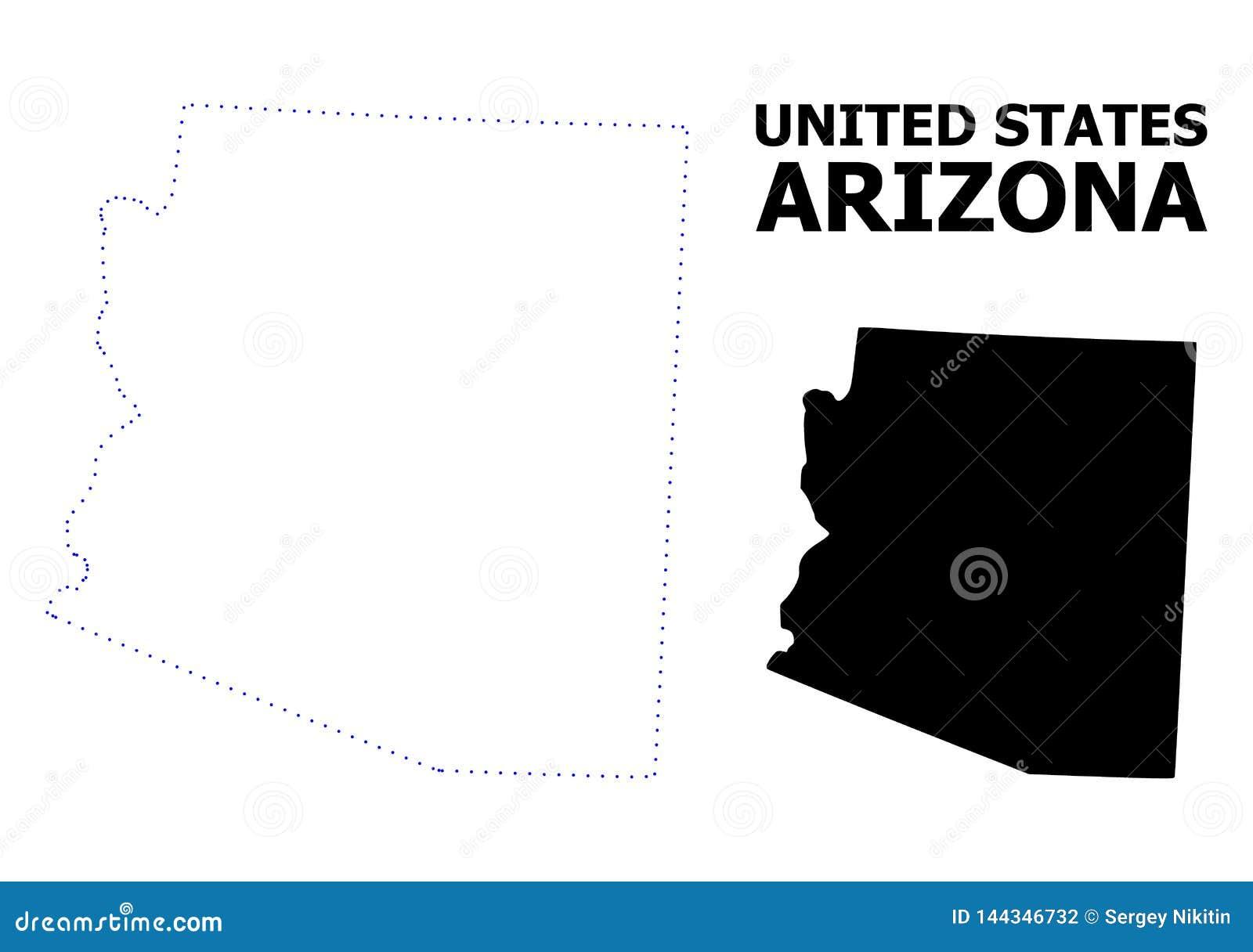 Carte pointillée par découpe de vecteur d état de l Arizona avec le nom